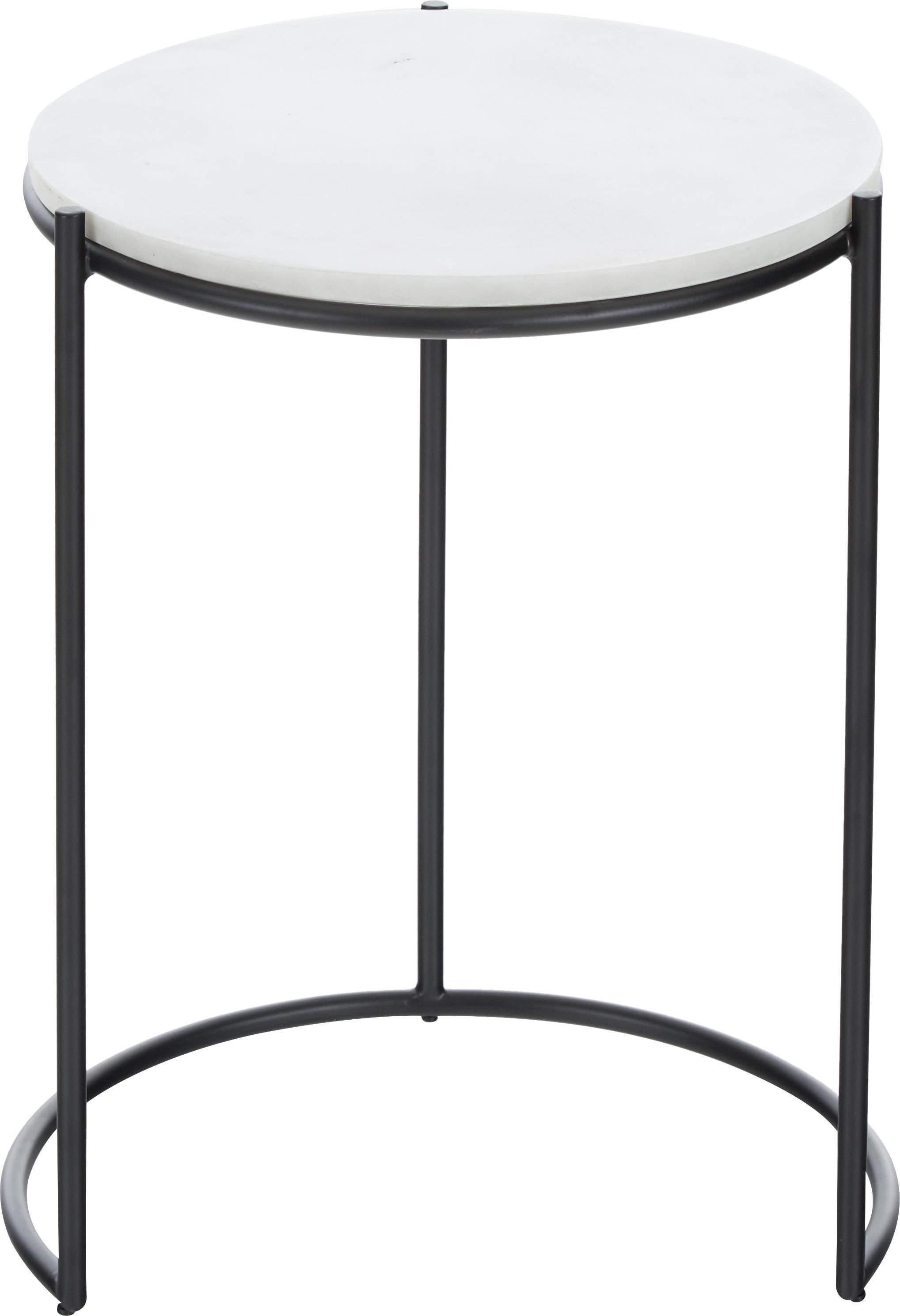 Set 2 tavolini con piano in marmo Ella, Ripiani: marmo, Struttura: metallo verniciato a polv, Ripiani: marmo bianco Struttura: nero opaco, Set in varie misure