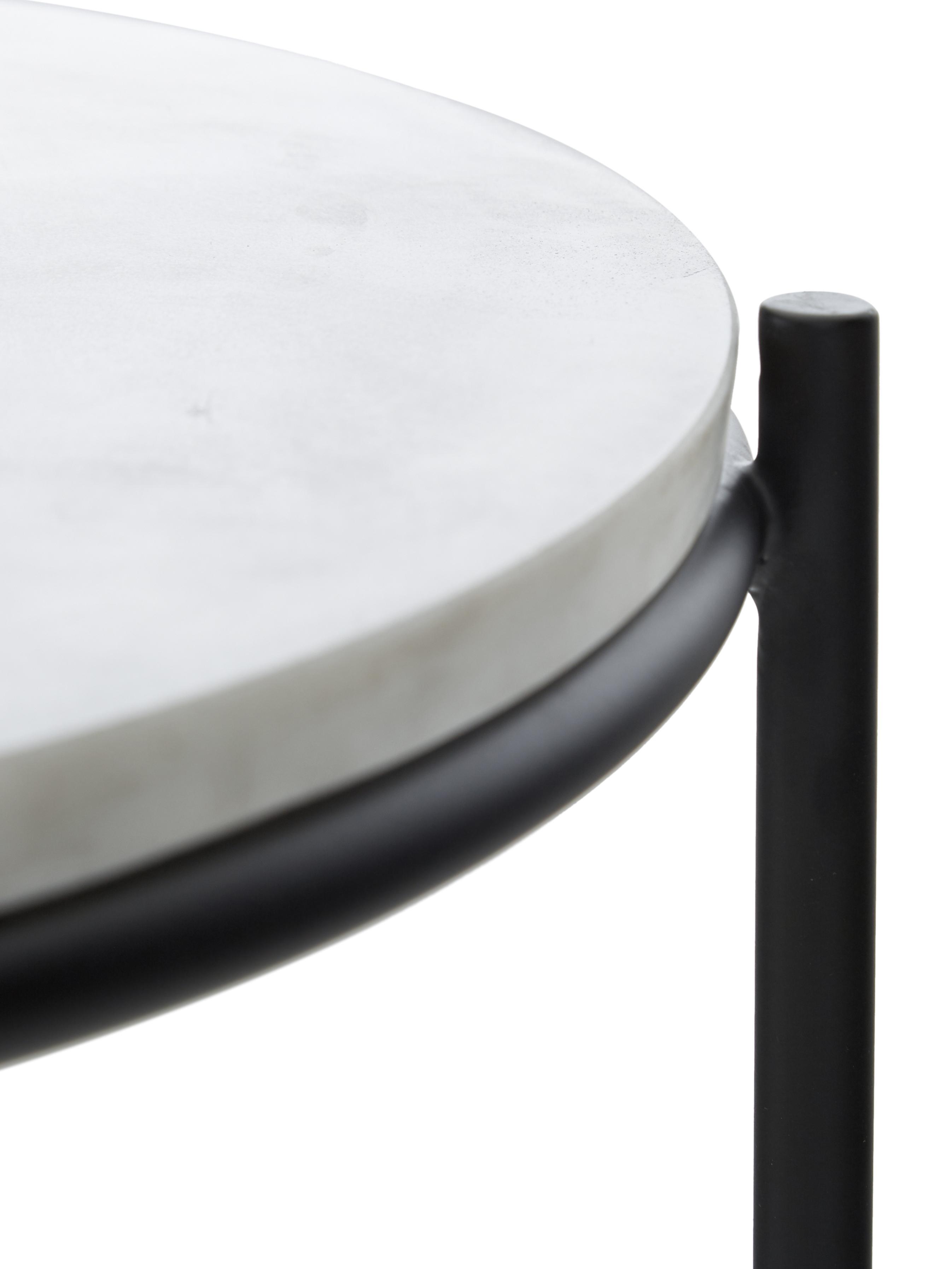 Marmor-Beistelltisch-Set Ella, Tischplatten: Weißer MarmorGestelle: Schwarz, matt, Sondergrößen