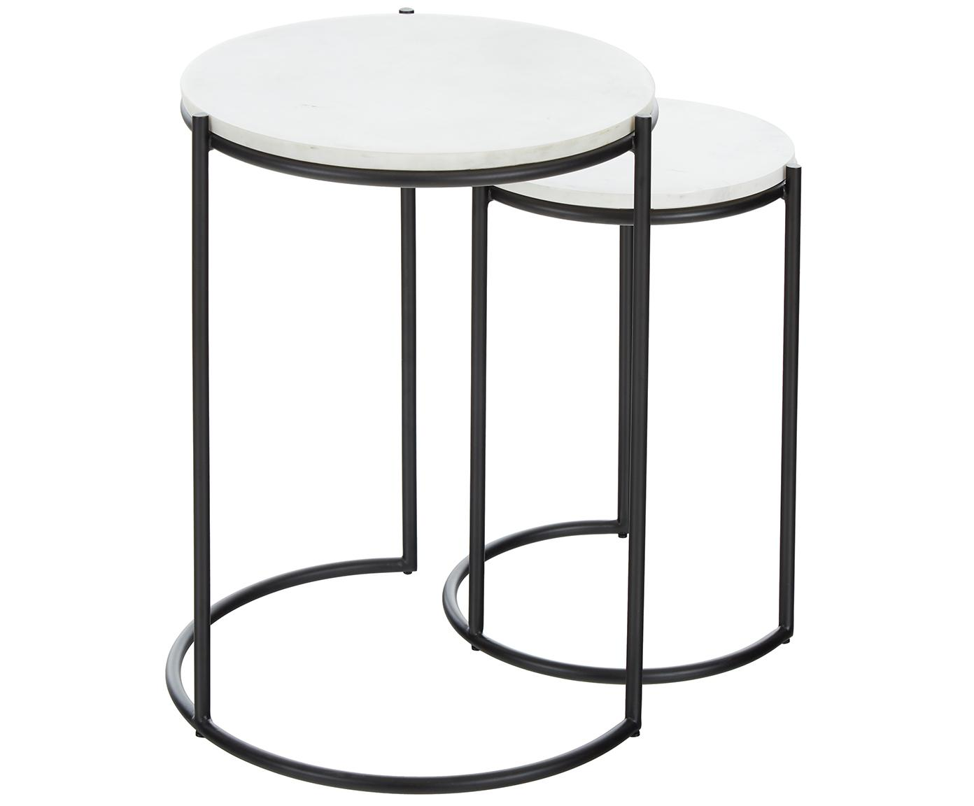 Set 2 tavolini con piano in marmo Ella, Ripiani: pietra naturale di marmo, Struttura: metallo verniciato a polv, Ripiani: marmo bianco Struttura: nero opaco, Diverse dimensioni