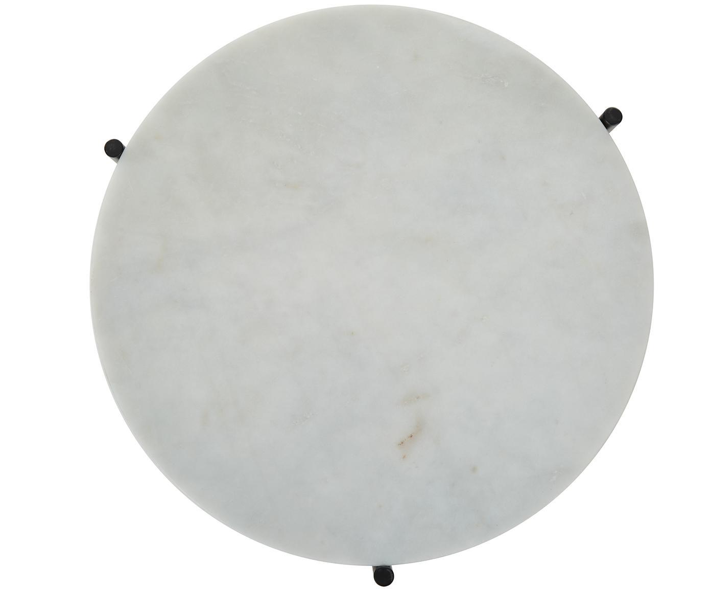 Komplet stolików pomocniczych z marmuru Ella, Stelaż: marmur naturalny, Stelaż: metal malowany proszkowo, Blaty: jaśniejszy marmur Stelaże: czarny, matowy, Różne rozmiary