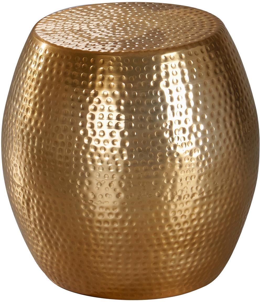Kleine bijzettafel Wohnling in oosters design, Gecoat aluminium, Messingkleurig, Ø 42 x H 42 cm