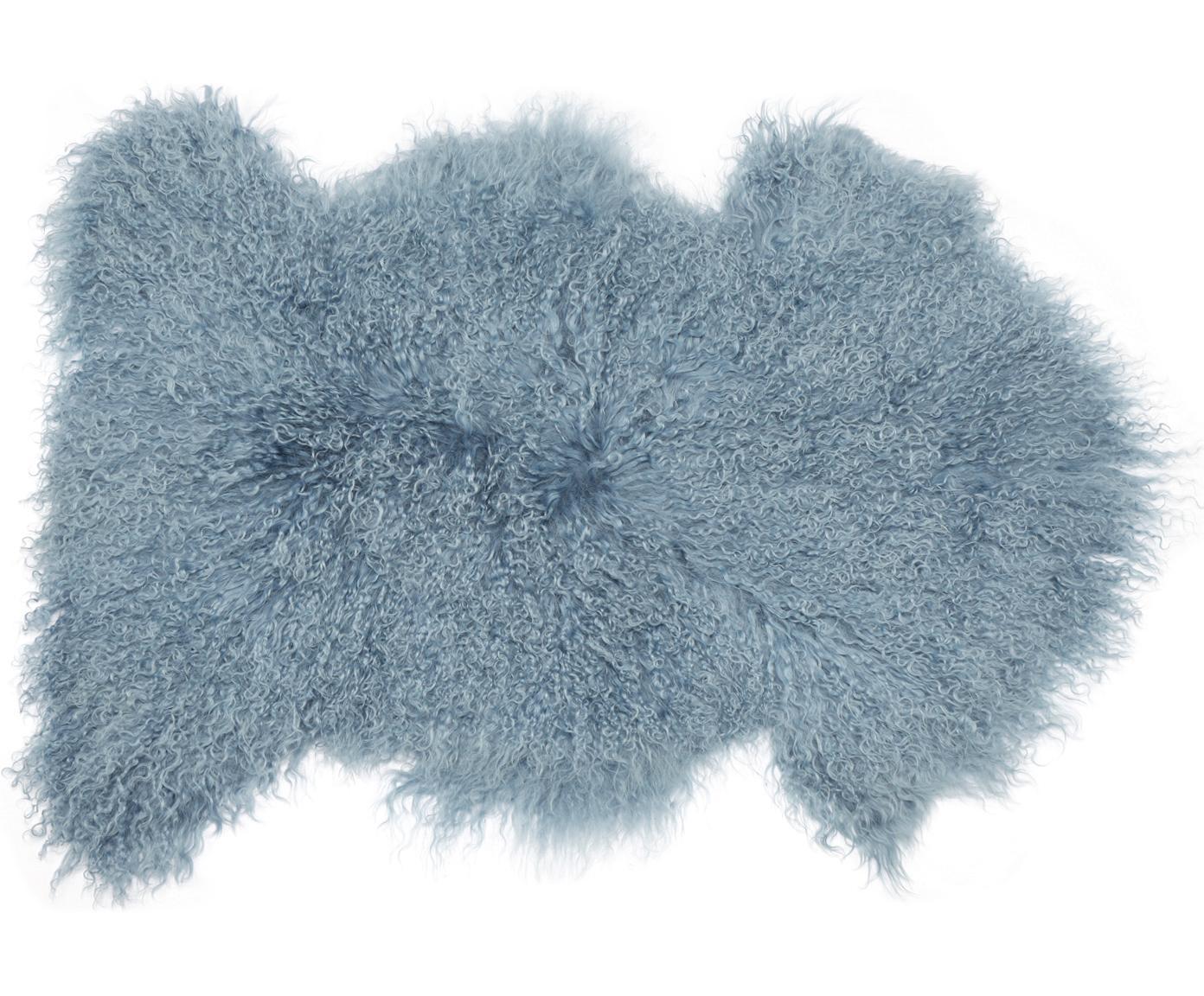 Langharige schapenvacht Ella, Bovenzijde: 100% Mongoolse schapenvac, Onderzijde: 100% leer, Lichtblauw, 50 x 90 cm
