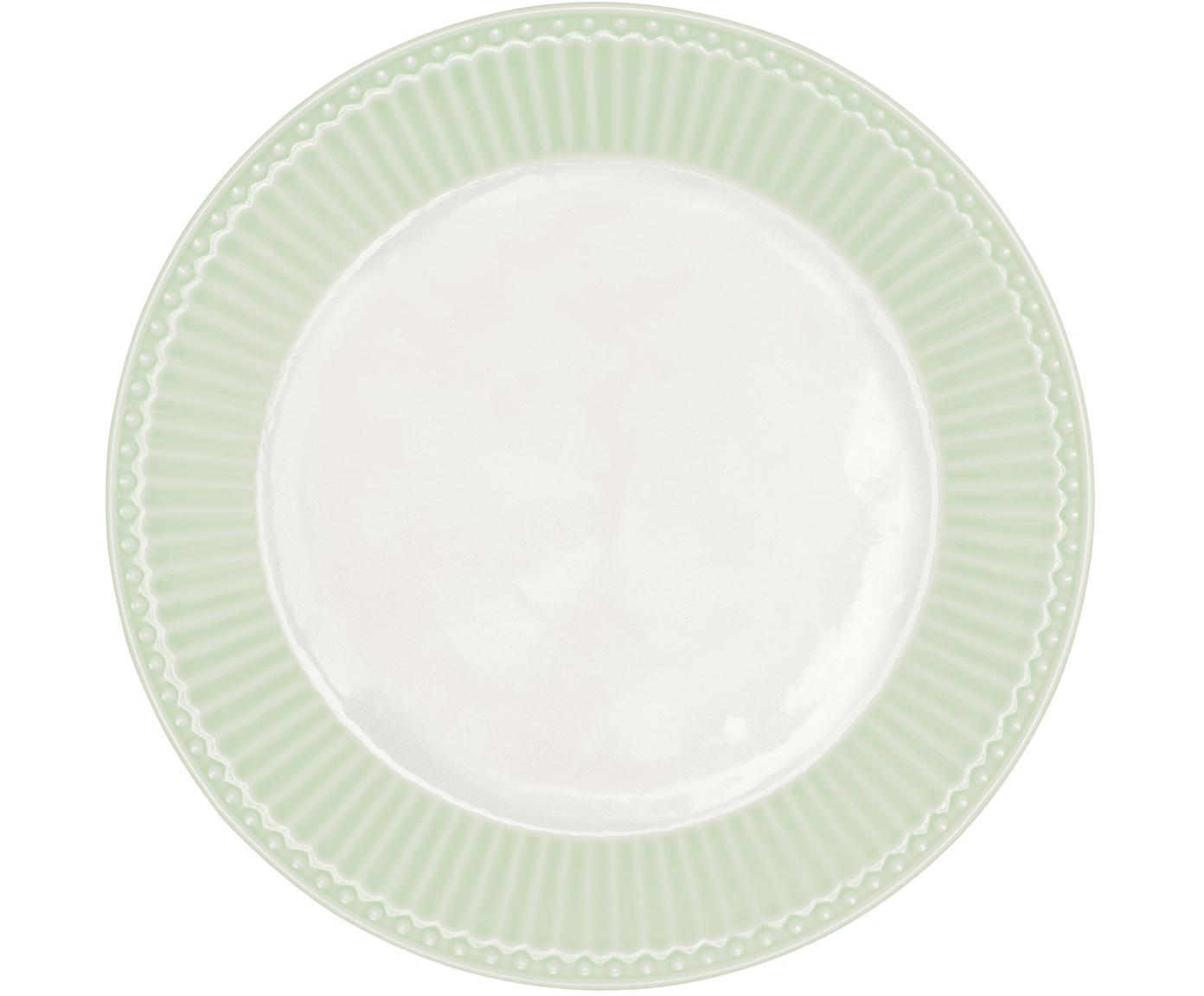 Handgefertigte Frühstücksteller Alice in Pastellgrün mit Reliefdesign, 2 Stück, Steingut, Mintgrün, Weiß, Ø 23 cm