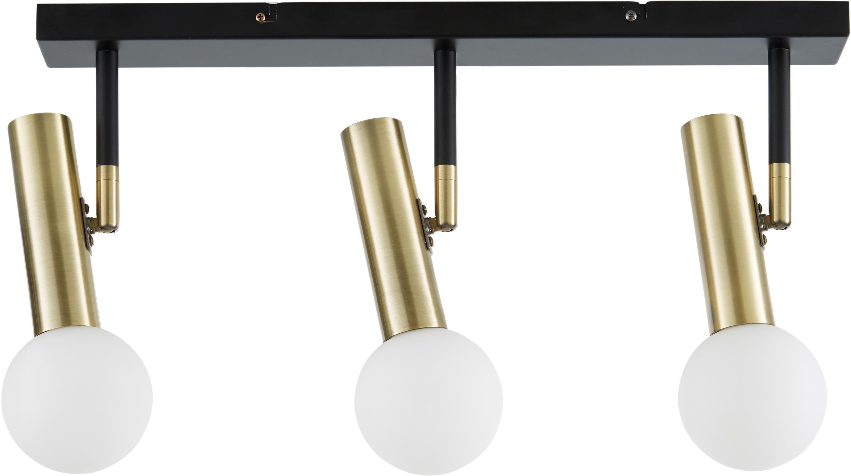 LED plafondlamp Wilson, Baldakijn: gepoedercoat metaal, Baldakijn: mat zwart. Fittingen: messingkleurig. Lampenkappen: wit, 65 x 31 cm