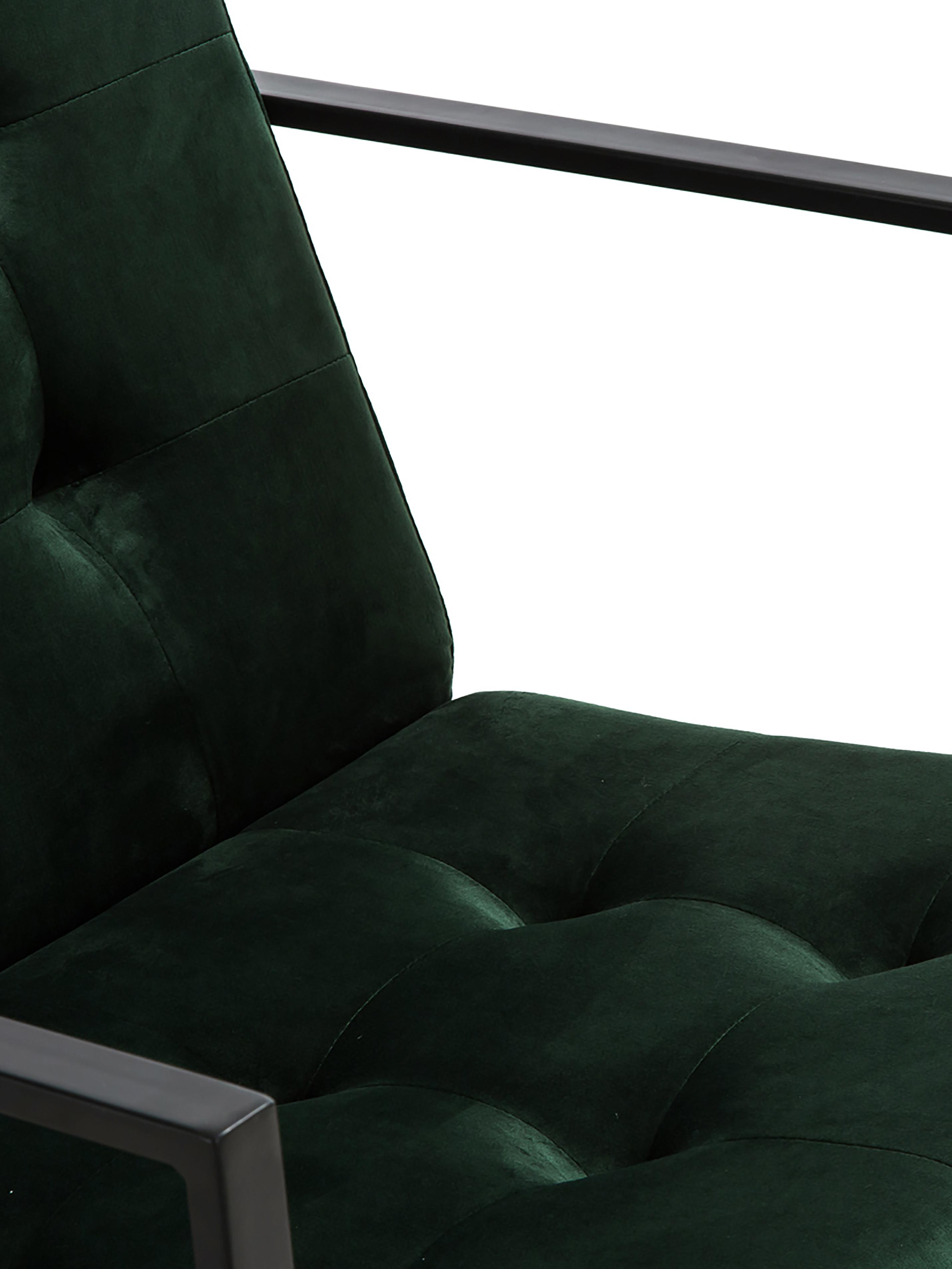 Samt-Loungesessel Manhattan in Dunkelgrün, Bezug: Samt (Polyester) 50.000 S, Gestell: Metall, pulverbeschichtet, Samt Dunkelgrün, B 70 x T 72 cm
