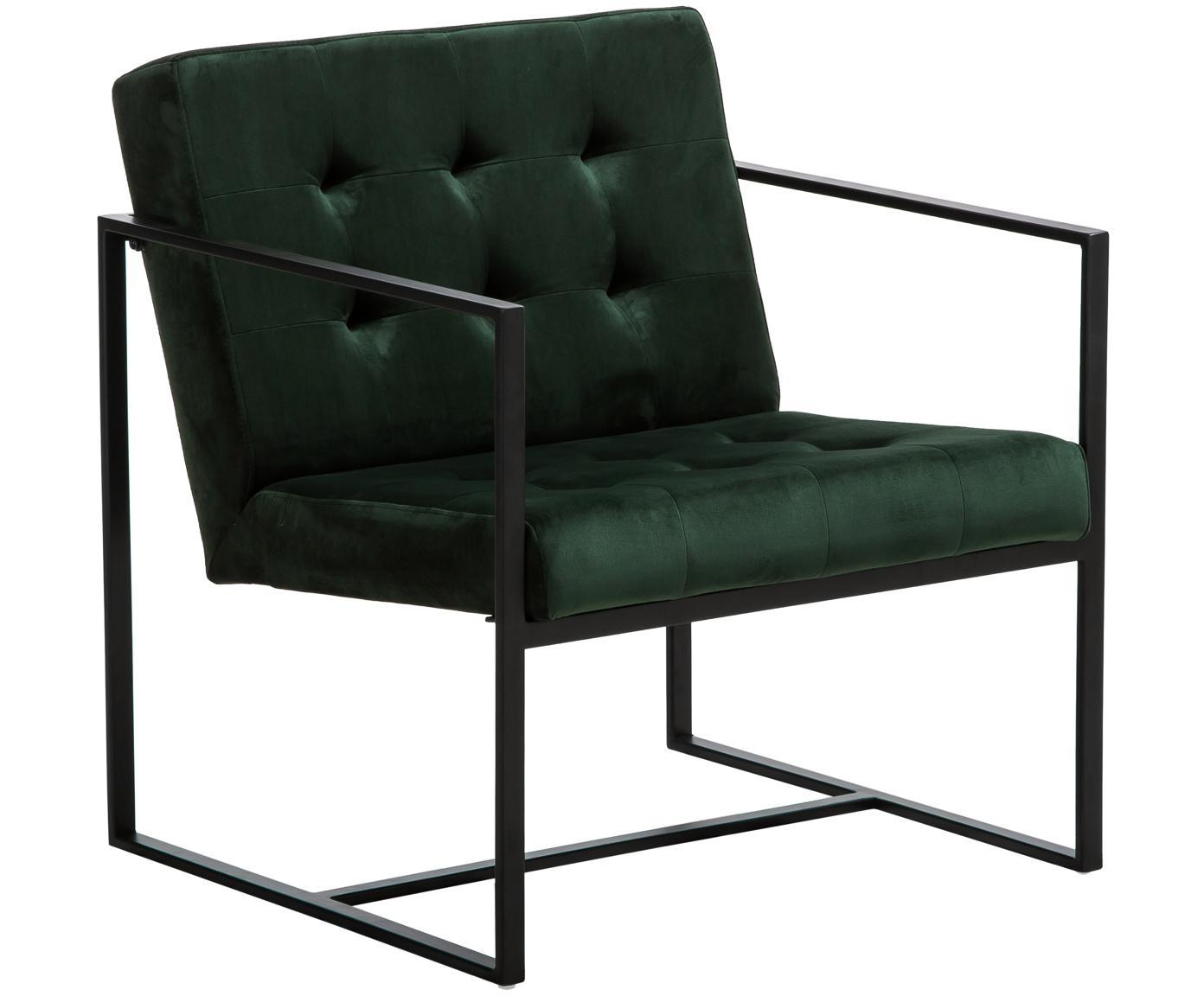 Fotel z aksamitu Manhattan, Tapicerka: aksamit (poliester) Tkani, Stelaż: metal malowany proszkowo, Ciemnyzielony, S 70 x G 72 cm