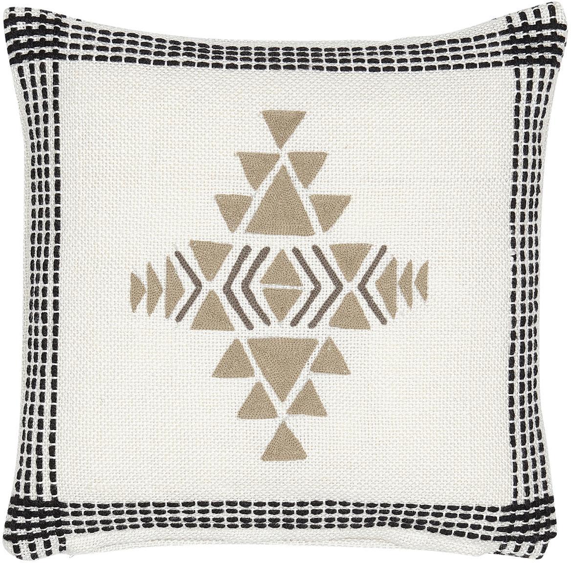 Ethno Kissen Aztec aus recyceltem PET, mit Inlett, Bezug: PET, recycelt, Gebrochenes Weiß, Schwarz, Beige, 45 x 45 cm