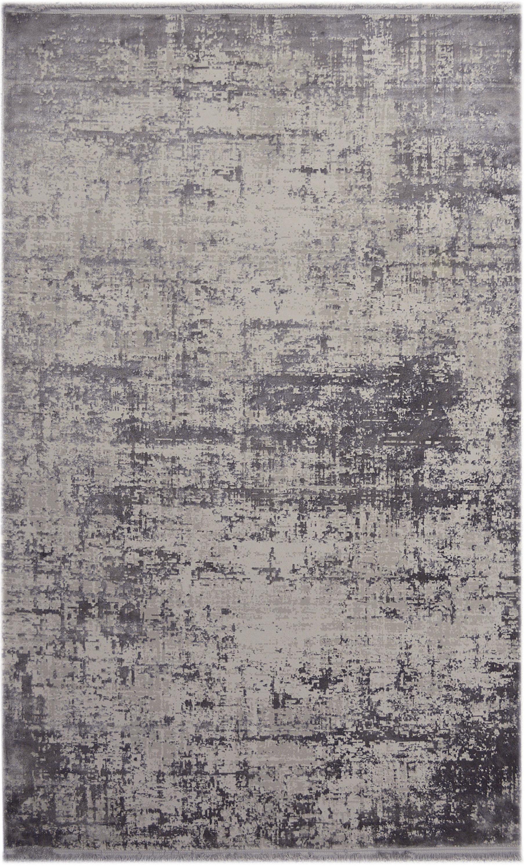 Schimmernder Teppich Cordoba mit Fransen, Vintage Style, Flor: 70% Acryl, 30% Viskose, Grautöne mit leichtem Lilastich, B 200 x L 290 cm (Größe L)