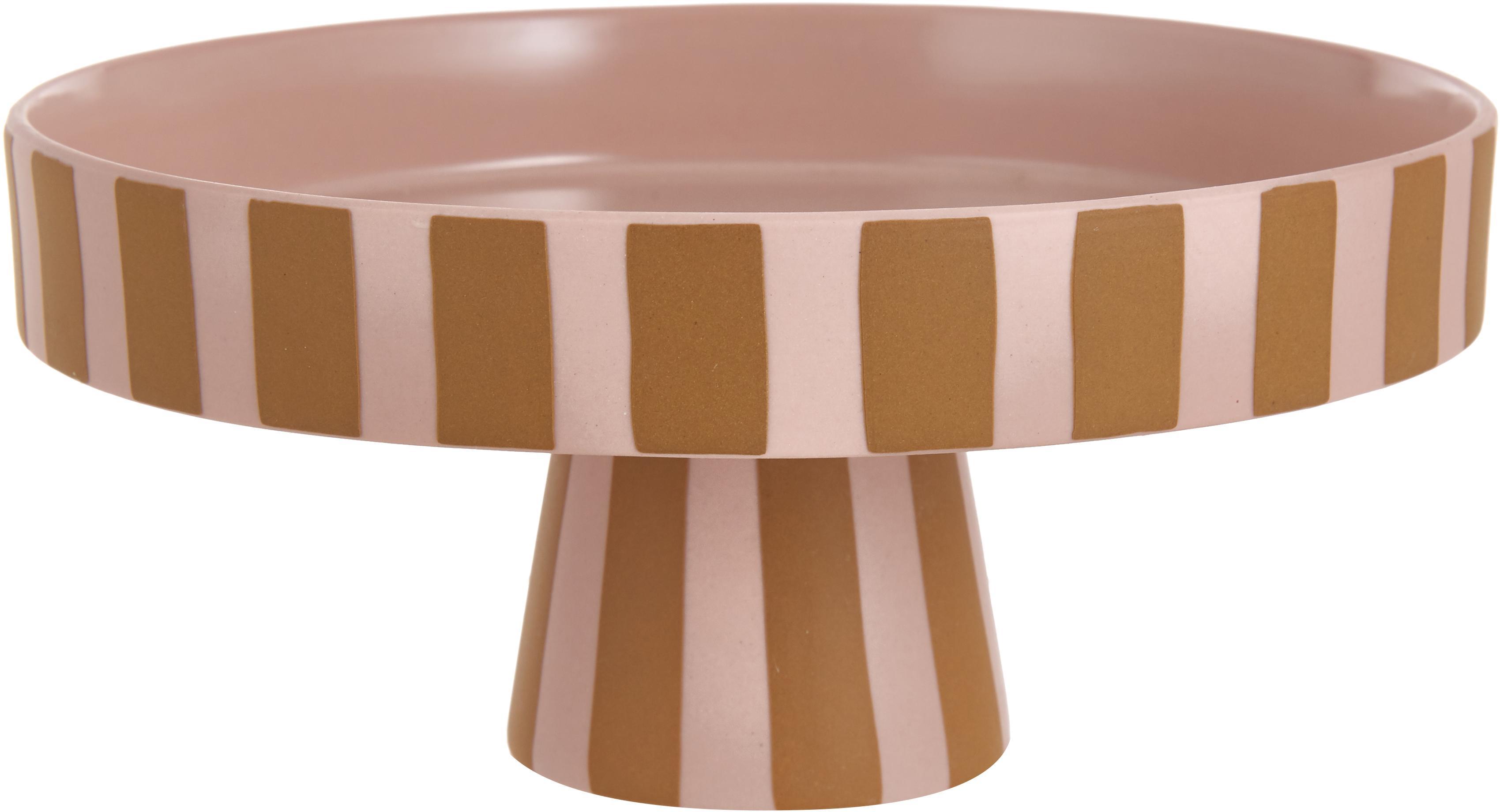 Servierplatte Toppu im Streifendesign, Keramik, Karamellbraun, Rosa, Ø 20 x H 9 cm