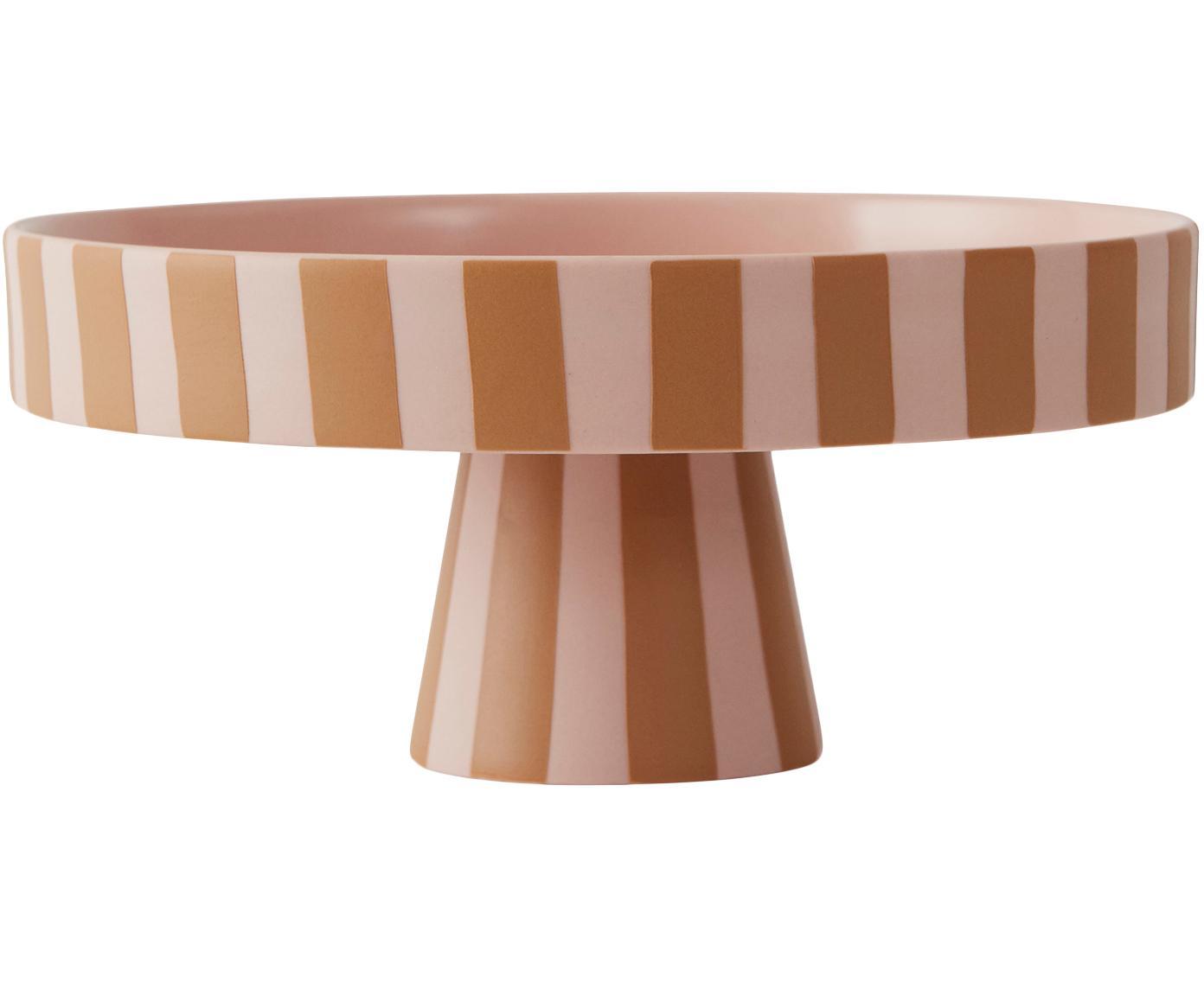 Mała patera na tort Toppu, Ceramika, Karmelowy brązowy, blady różowy, Ø 20 x W 9 cm