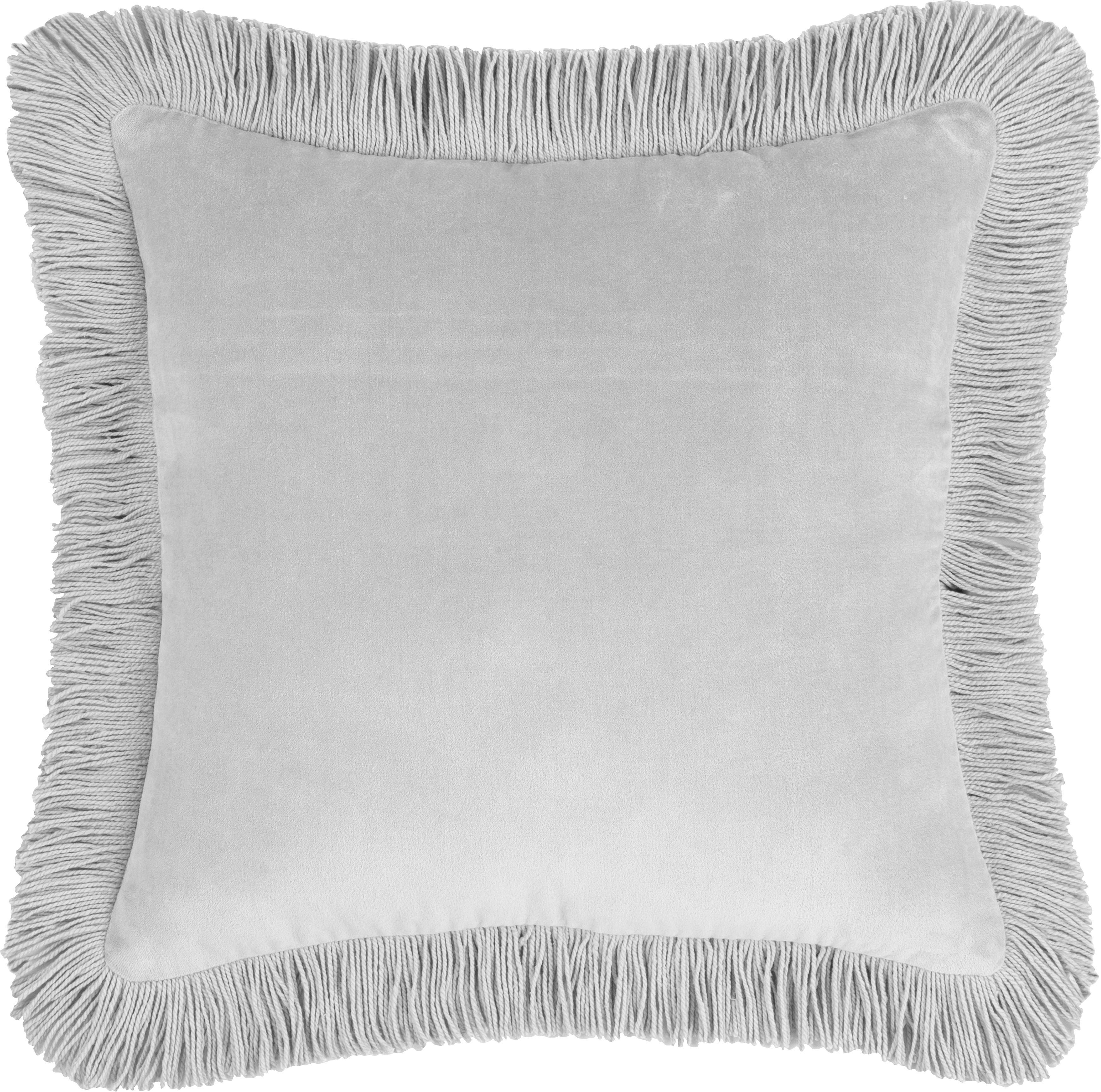 Poszewka na poduszkę z aksamitu Phoeby, Bawełna, Jasny szary, S 40 x D 40 cm