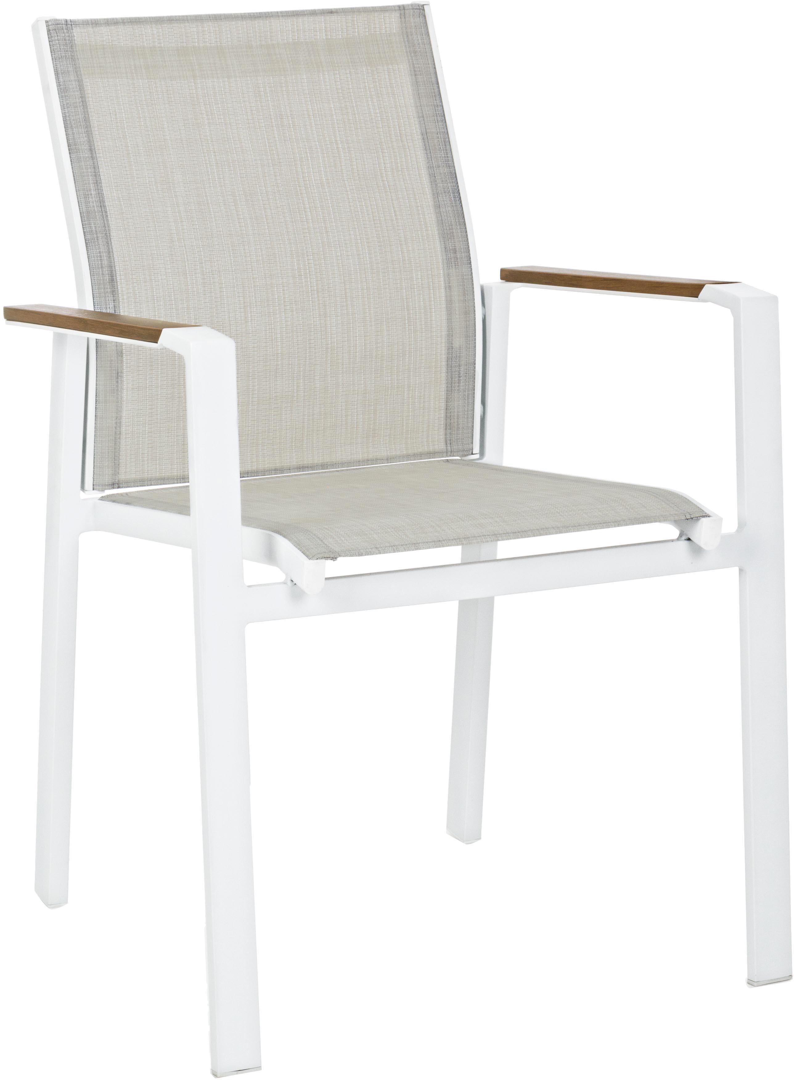 Sedia con braccioli da giardino Elias, Struttura: alluminio, verniciato a p, Seduta: textilene, Bianco, greige, legno, Larg. 57 x Prof. 62 cm