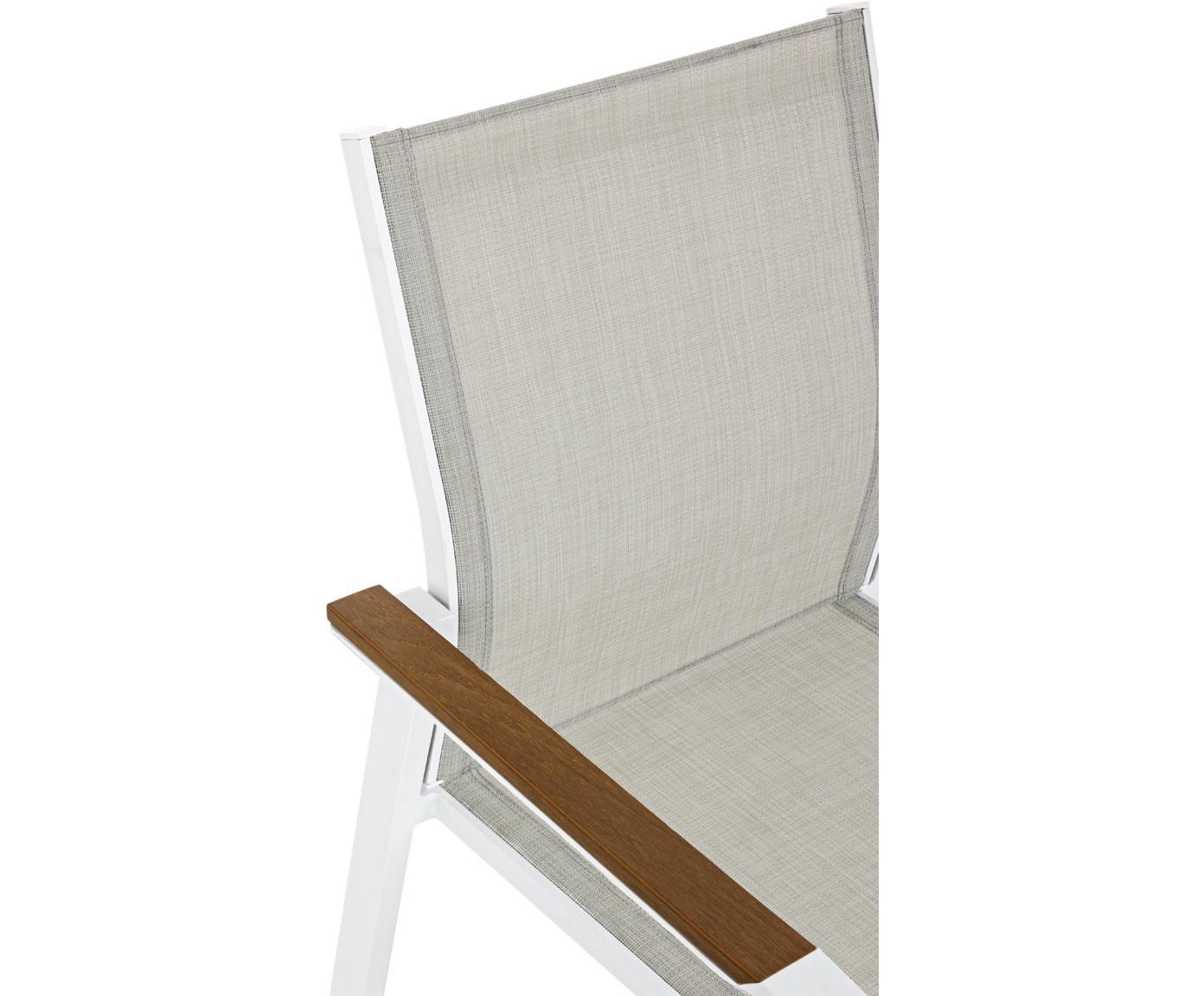 Stapelbare tuinarmstoel Elias, Frame: gepoedercoat aluminium, Zitvlak: Textilene, Wit, greige, hout, B 57 x D 62 cm