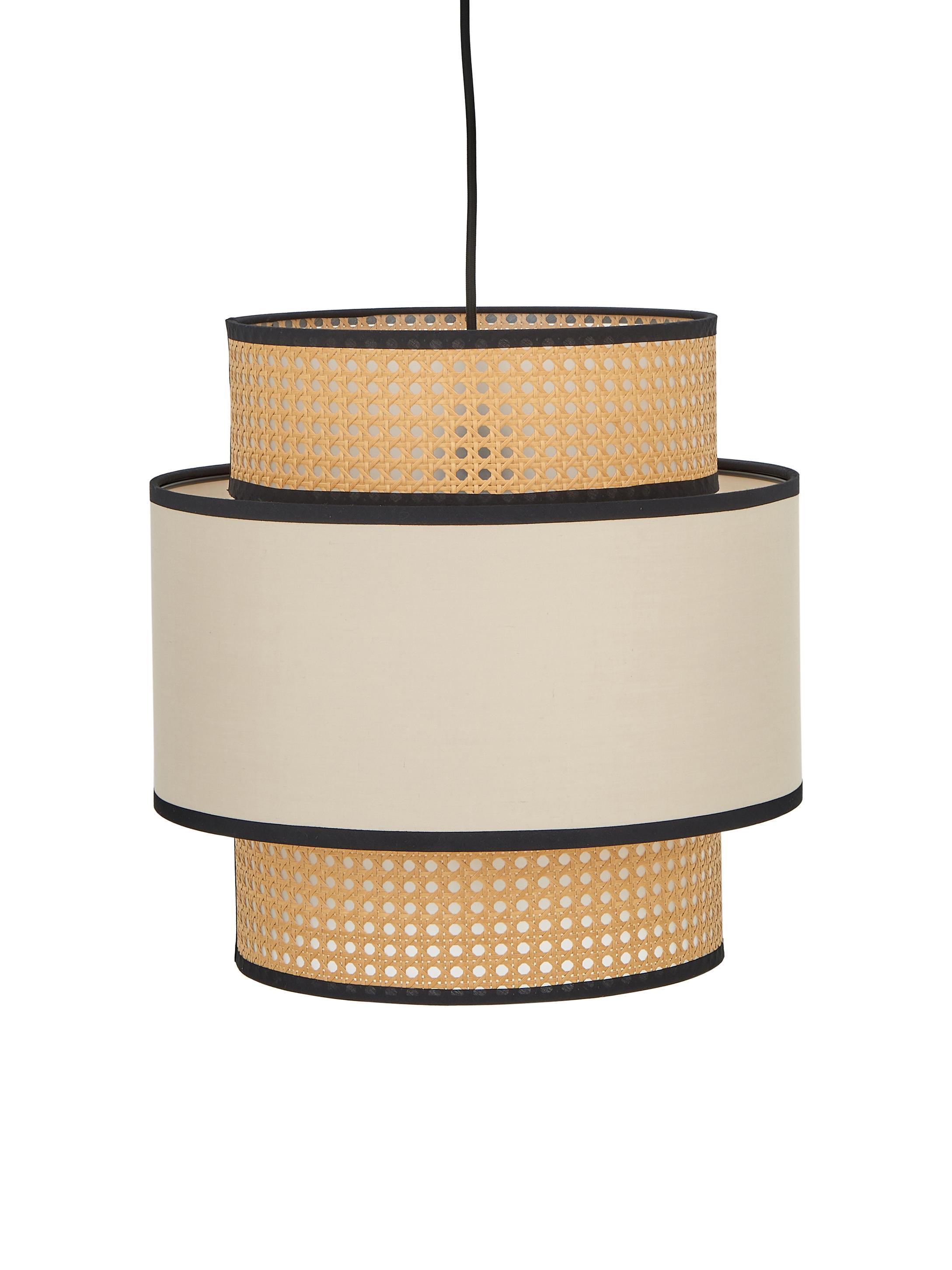 Hanglamp Vienna, Baldakijn: gepoedercoat metaal, Lampenkap: katoenmix, kunststof, Beige, zwart, crèmekleurig, Ø 40 x H 40 cm