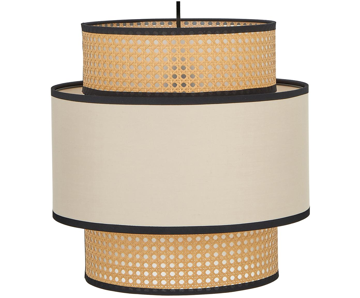 Lámpara de techo Vienna, Anclaje: metal con pintura en polv, Pantalla: mezcla de algodón, plásti, Cable: cubierto en tela, Beige, negro, crema, ? 40 x H 40 cm