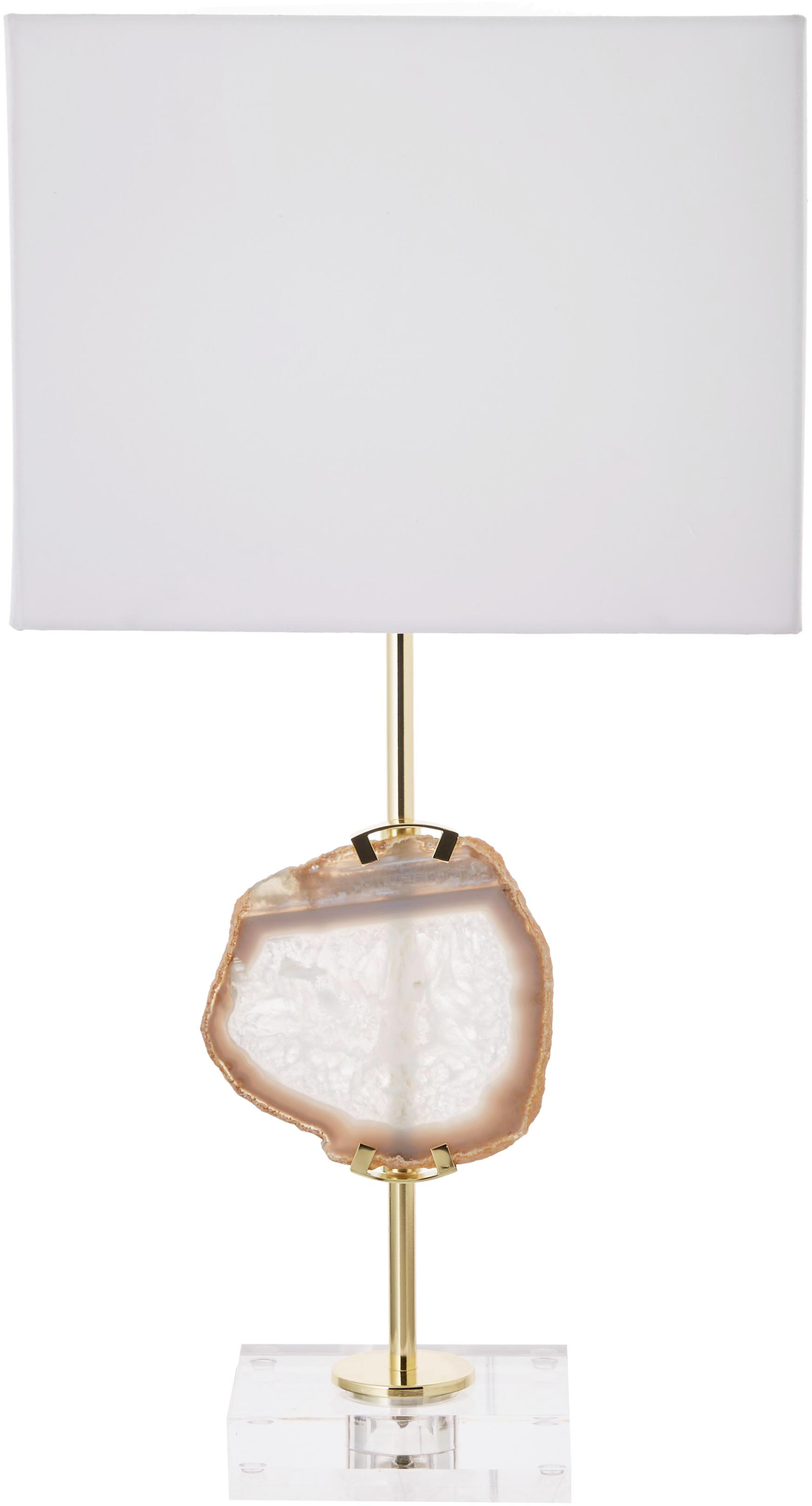 Lampada da tavolo con decorazione in agata Treasure, Paralume: miscela di cotone, Base della lampada: acrilico metallo, Trasparente, dorato, agata beige Paralume: bianco, Larg. 33 x Alt. 62 cm