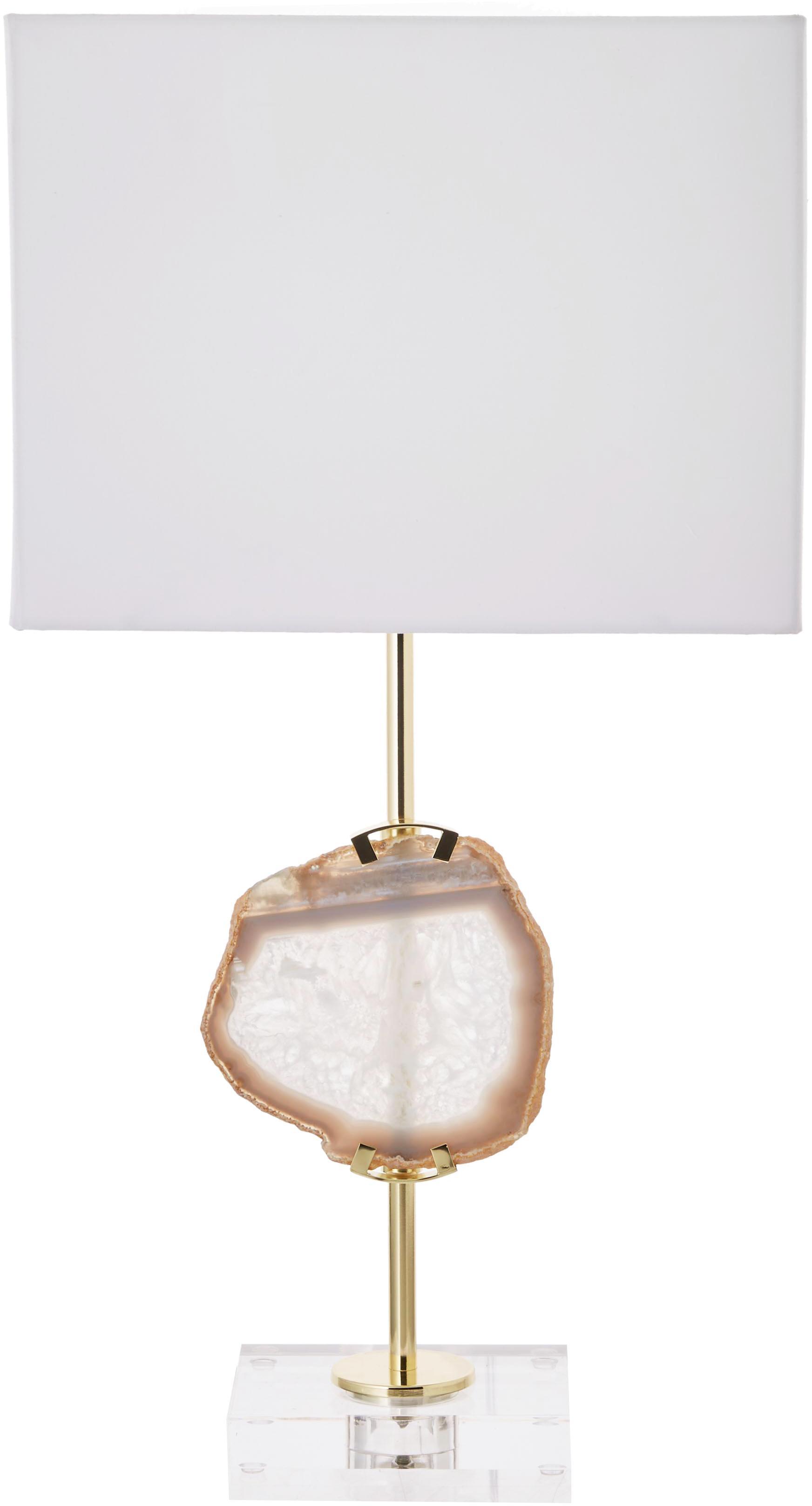 Lámpara de mesa grande con piedra ágata Treasure, estilo glam, Pantalla: mezcla de algodón, Cable: plástico, Transparente, dorado, ágata beige, blanco, An 33 x Al 62 cm
