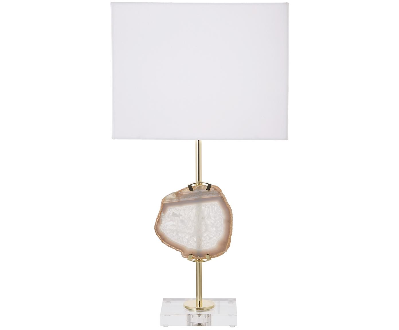 Lampada da tavolo con decorazione in agata Treasure, Base della lampada: acrilico metallo, Decorazione: agata, Paralume: miscela di cotone, Trasparente, dorato, agata beige Paralume: bianco, Larg. 33 x Alt. 62 cm