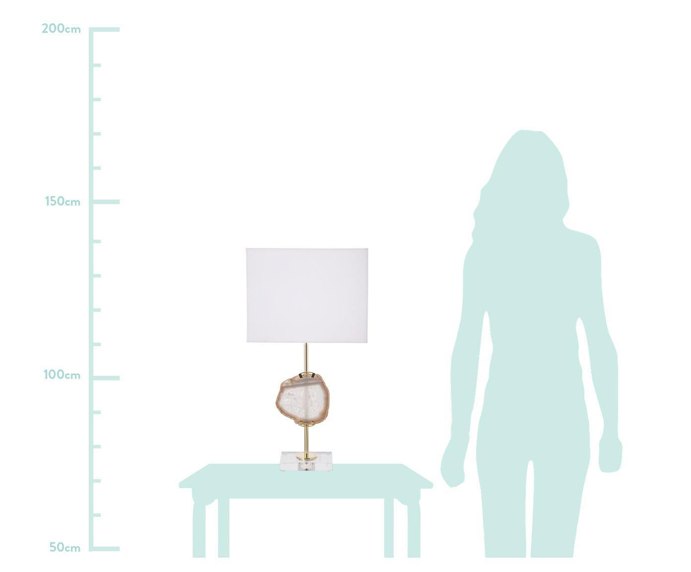 Tafellamp Treasure, Lampvoet: acryl, metaal, Decoratie: agaat, Lampenkap: katoenmix, Transparant, goudkleurig, beige agaat. Lampenkap: wit, 33 x 62 cm