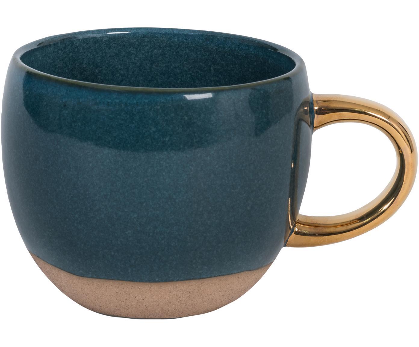 Kaffeetasse Legion mit goldenem Griff, Steingut, Blau, Goldfarben, Ø 11 x H 9 cm