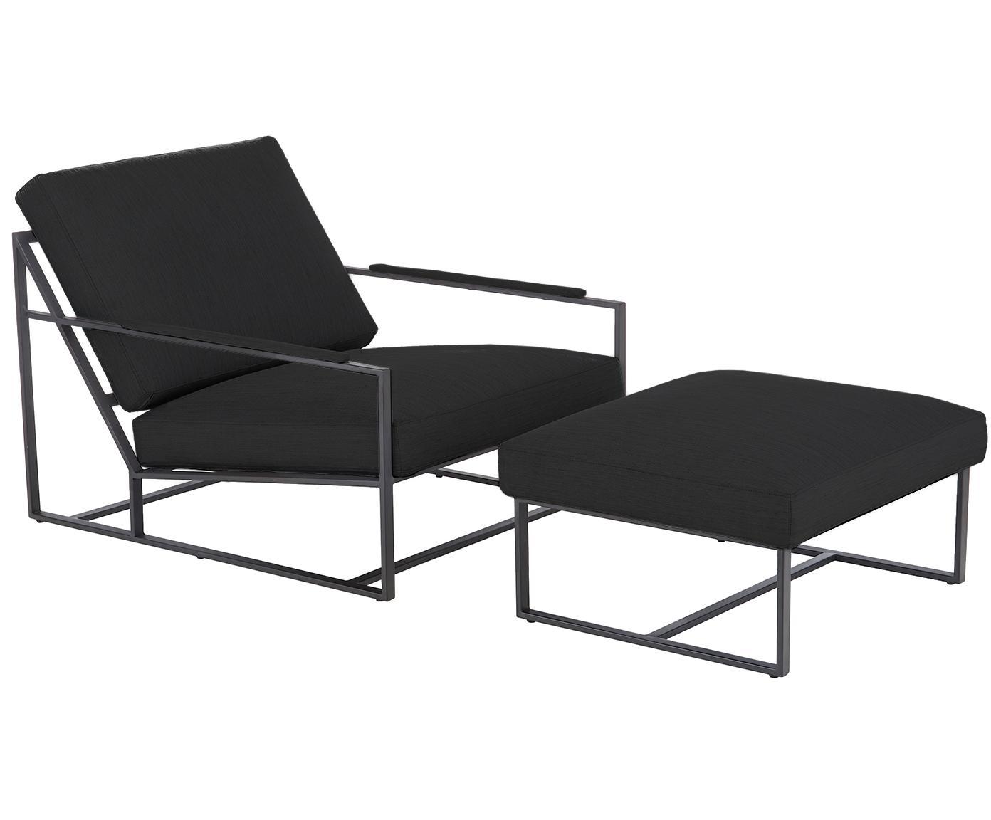 Set lounge Andy, 2pzas., Estructura: metal con pintura en polv, Tejido gris antracita, Tamaños diferentes