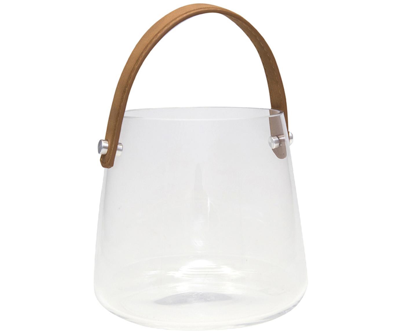 Windlicht Icca, Windlicht: Glas, Griff: Kunstleder, Braun, Transparent, Ø 16 x H 15 cm