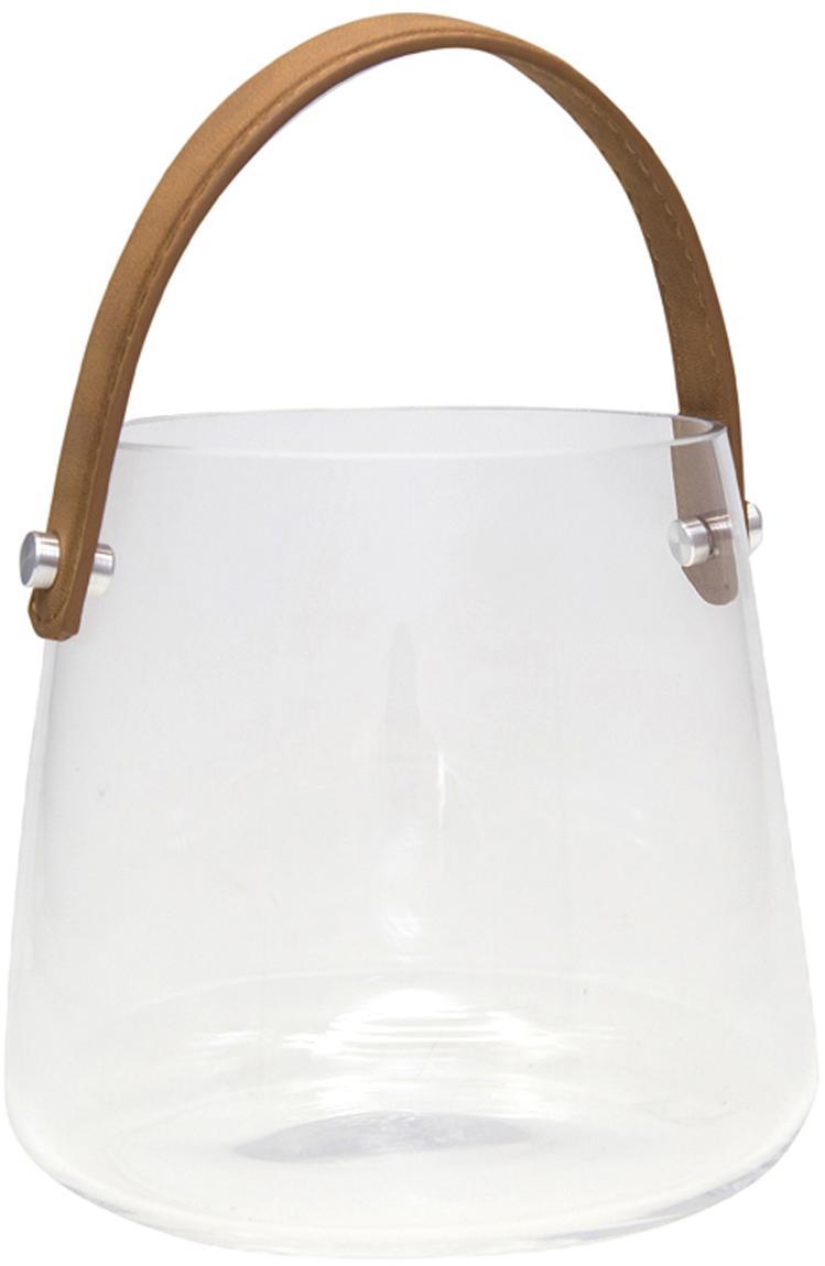 Lanterna Icca, Portacandela: vetro, Manico: similpelle, Marrone trasparente, Ø 16 x Alt. 15 cm