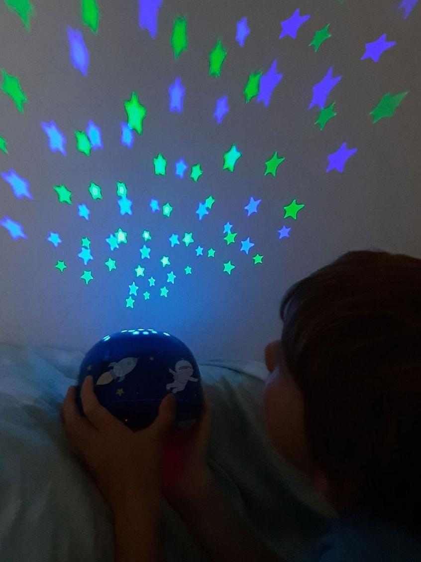 LED Leuchtobjekt Space mit Timer, Kunststoff (ABS), Blau, Ø 14 x H 9 cm