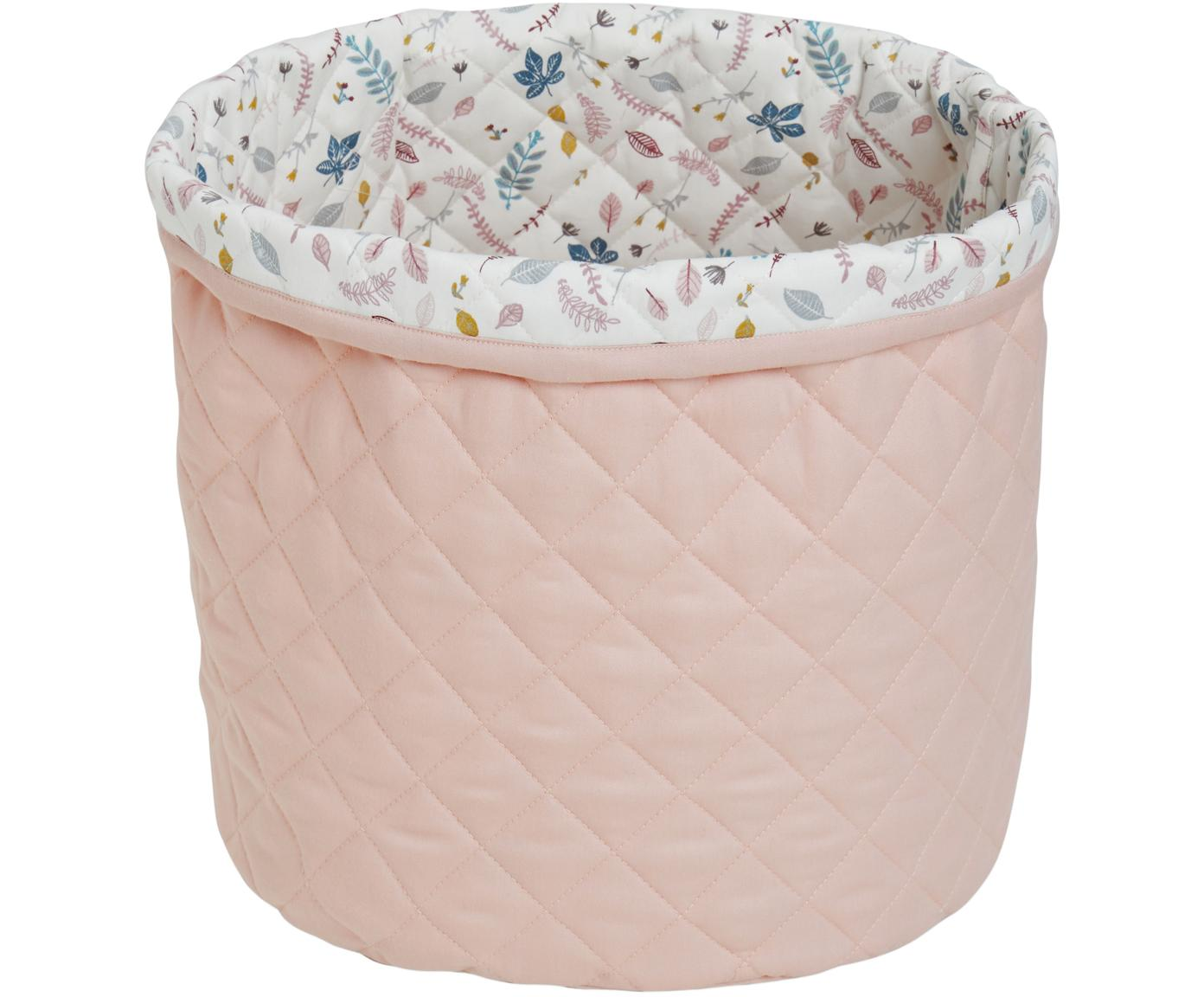 Kosz do przechowywania  z bawełny organicznej Pressed Leaves, Tapicerka: bawełna organiczna, Na zewnątrz: blady różowy wewnątrz: kremowy, blady różowy, niebieski, szary, Ø 30 x W 33 cm