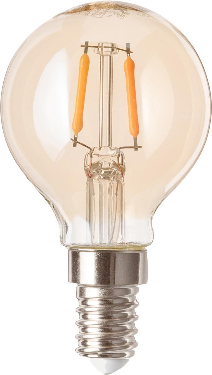 LED Leuchtmittel Luel (E14/1.2W), 5 Stück, Leuchtmittelschirm: Glas, Leuchtmittelfassung: Aluminium, Bernsteinfarben, Ø 5 x H 8 cm
