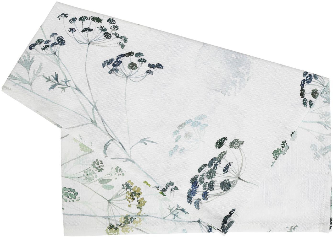 Camino de mesa Herbier, 100%algodón, Blanco, verde, An 50 x L 160 cm