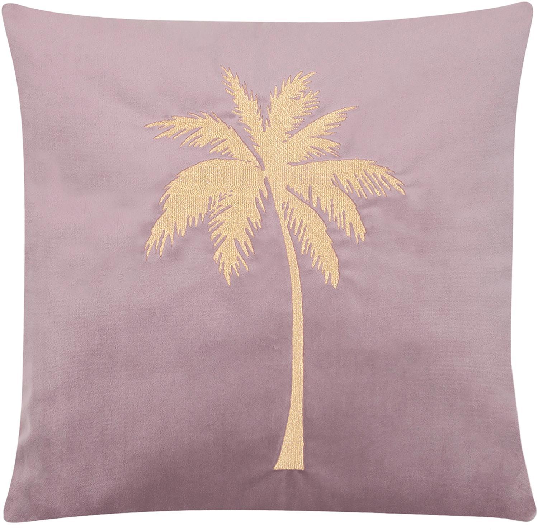 Funda de cojín bordada de terciopelo brillante Palmsprings, Terciopelo de poliéster, Rosa palo, dorado, An 40 x L 40 cm