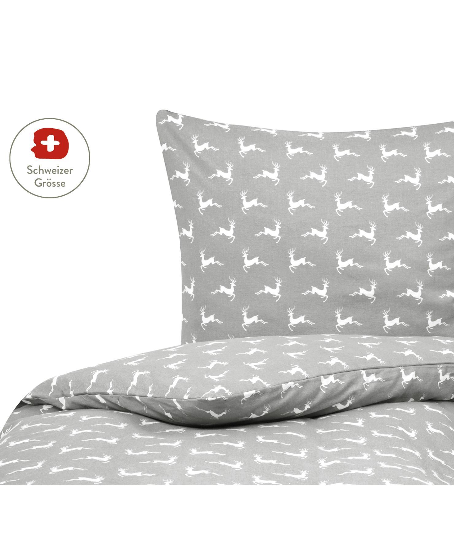 Flanell-Bettdeckenbezug Rudolph mit Rentieren, Webart: Flanell Flanell ist ein s, Grau, Weiss, 160 x 210 cm