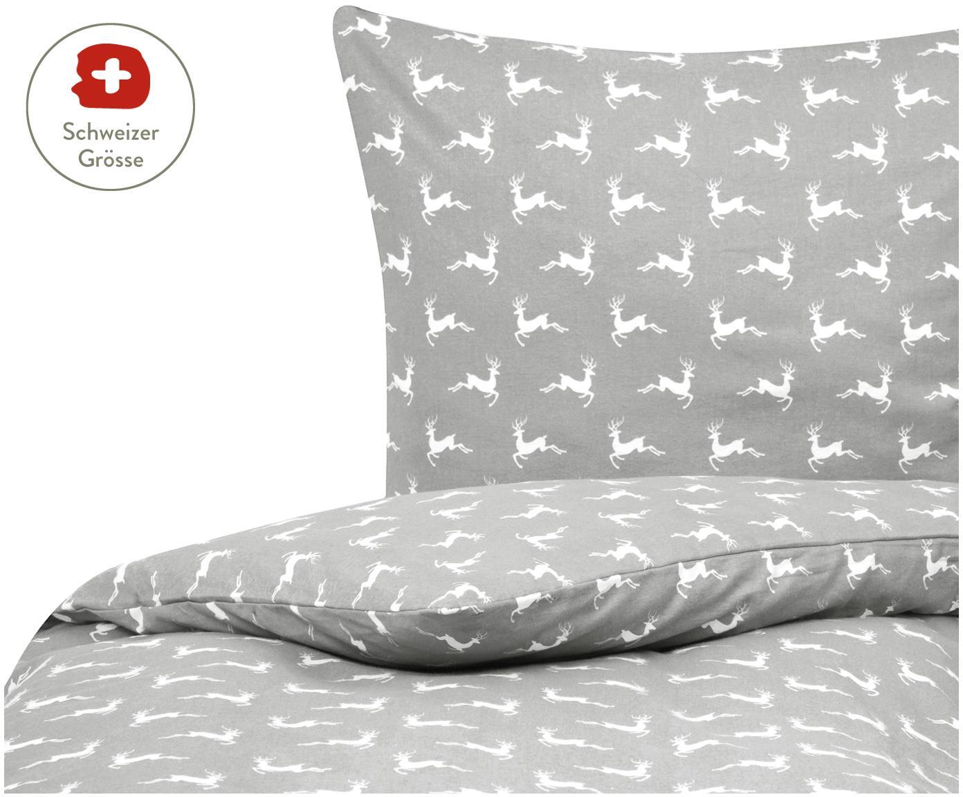 Flanell-Bettdeckenbezug Rudolph mit Rentieren, Webart: Flanell, Grau, Weiss, 160 x 210 cm