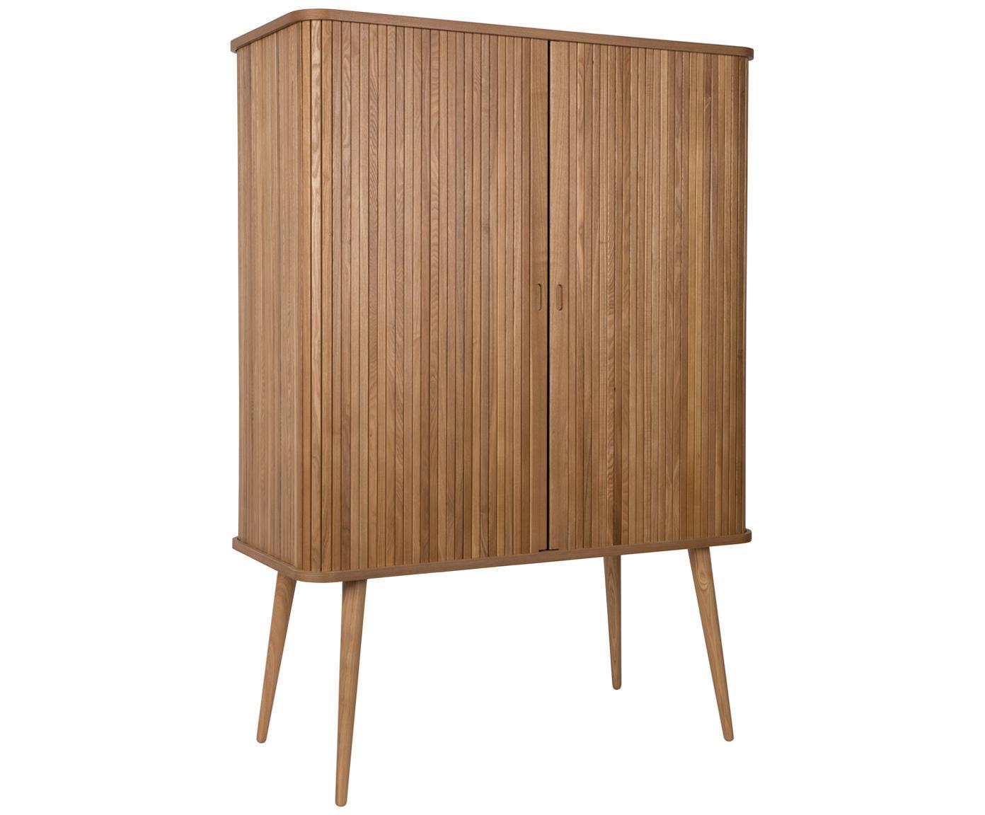 Highboard Barbier im Retro Design, Korpus: Mitteldichte Holzfaserpla, Einlegeböden: Glas, Korpus: Braun<br>Schiebetüren: Eschenholz<br>Einlegeböden: Transparent, 100 x 140 cm