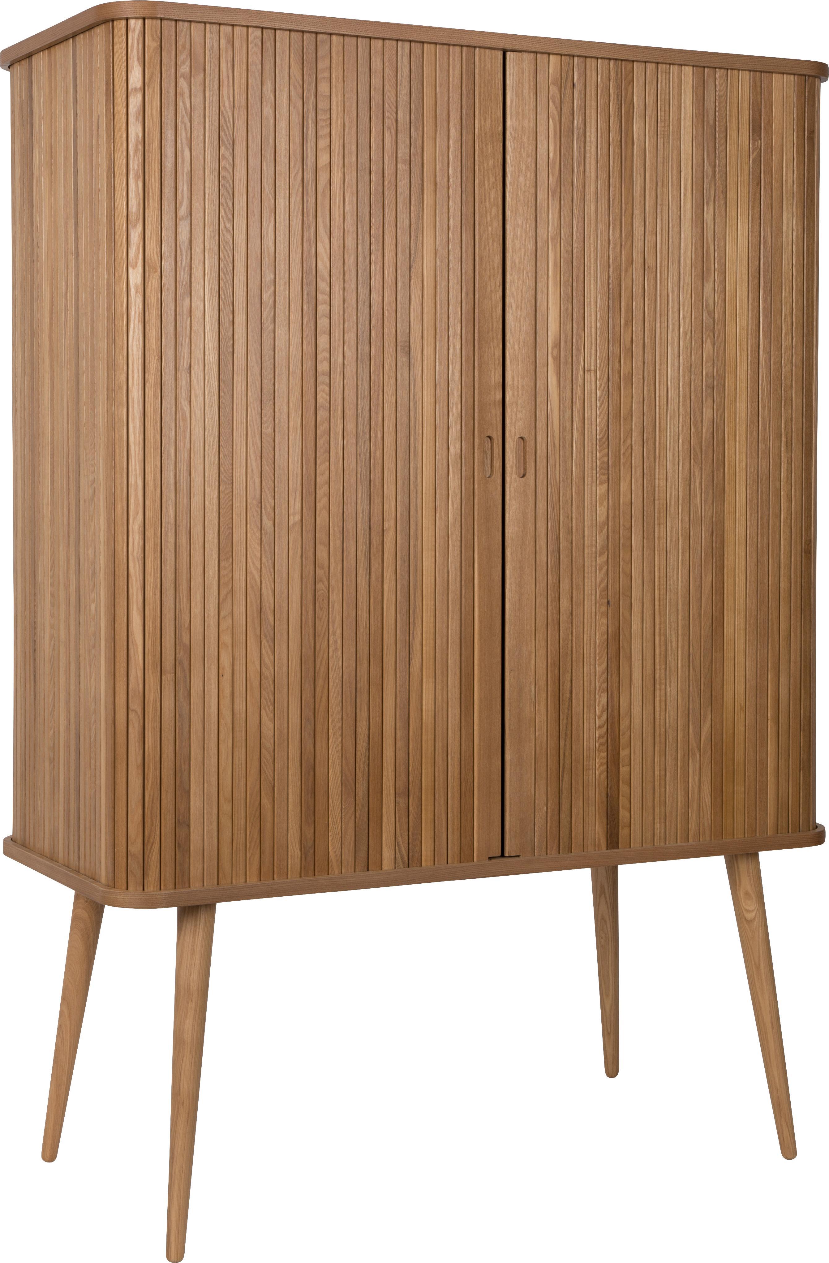 Wysoka komoda retro Barbier, Korpus: płyta pilśniowa średniej , Korpus: brązowy Drzwi przesuwane i nogi: drewno jesionowe Półki: transparentny, S 100 x W 140 cm