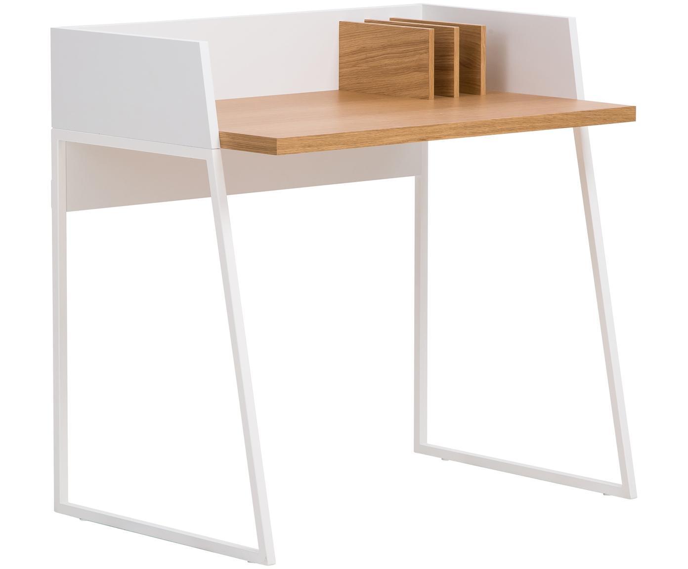 Bureau Camille uit hout in wit, Poten: gelakt metaal, Eikenhoutkleurig, wit, B 90 x D 60 cm