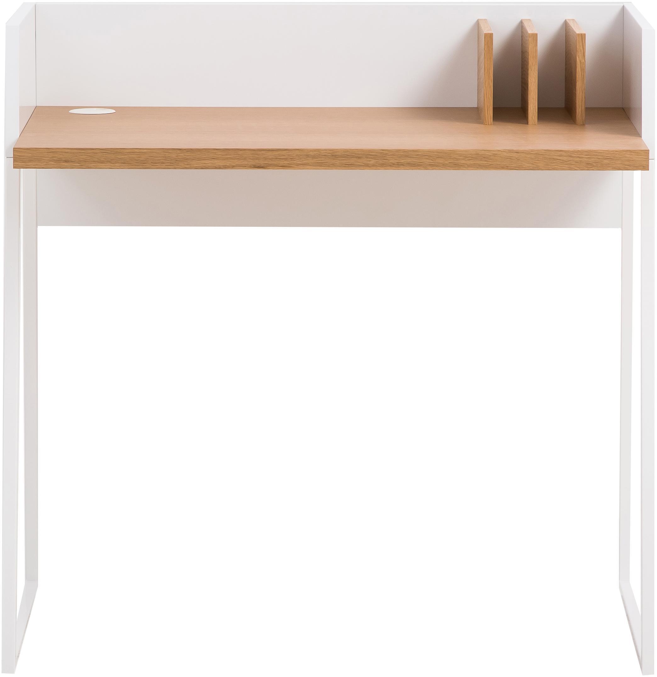 Scrittoio con ripiano Camille, Gambe: metallo verniciato, Legno di quercia, bianco, Larg. 90 x Prof. 60 cm