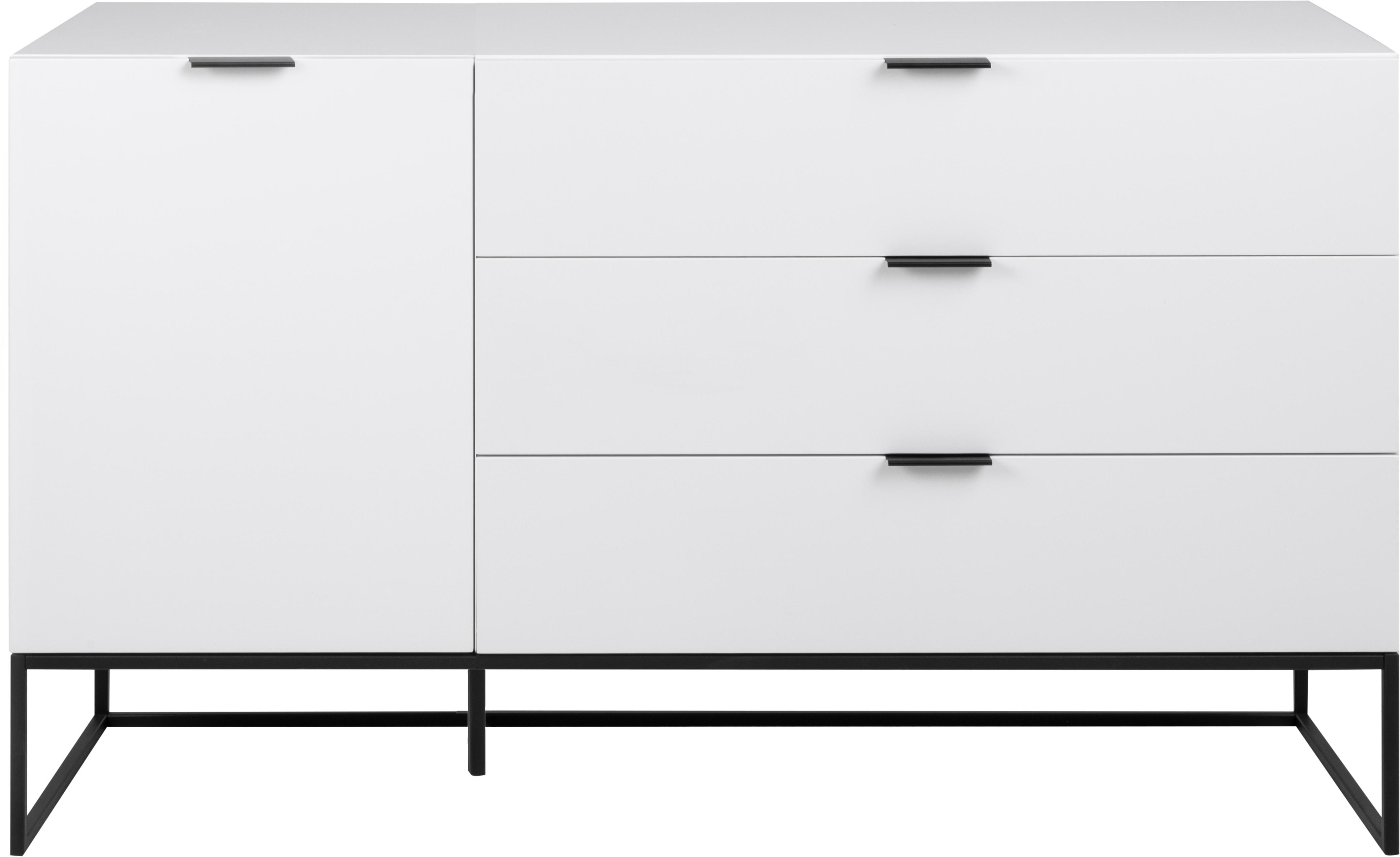 Komoda z szufladami Kobe, Biały, czarny, S 134 x W 80 cm