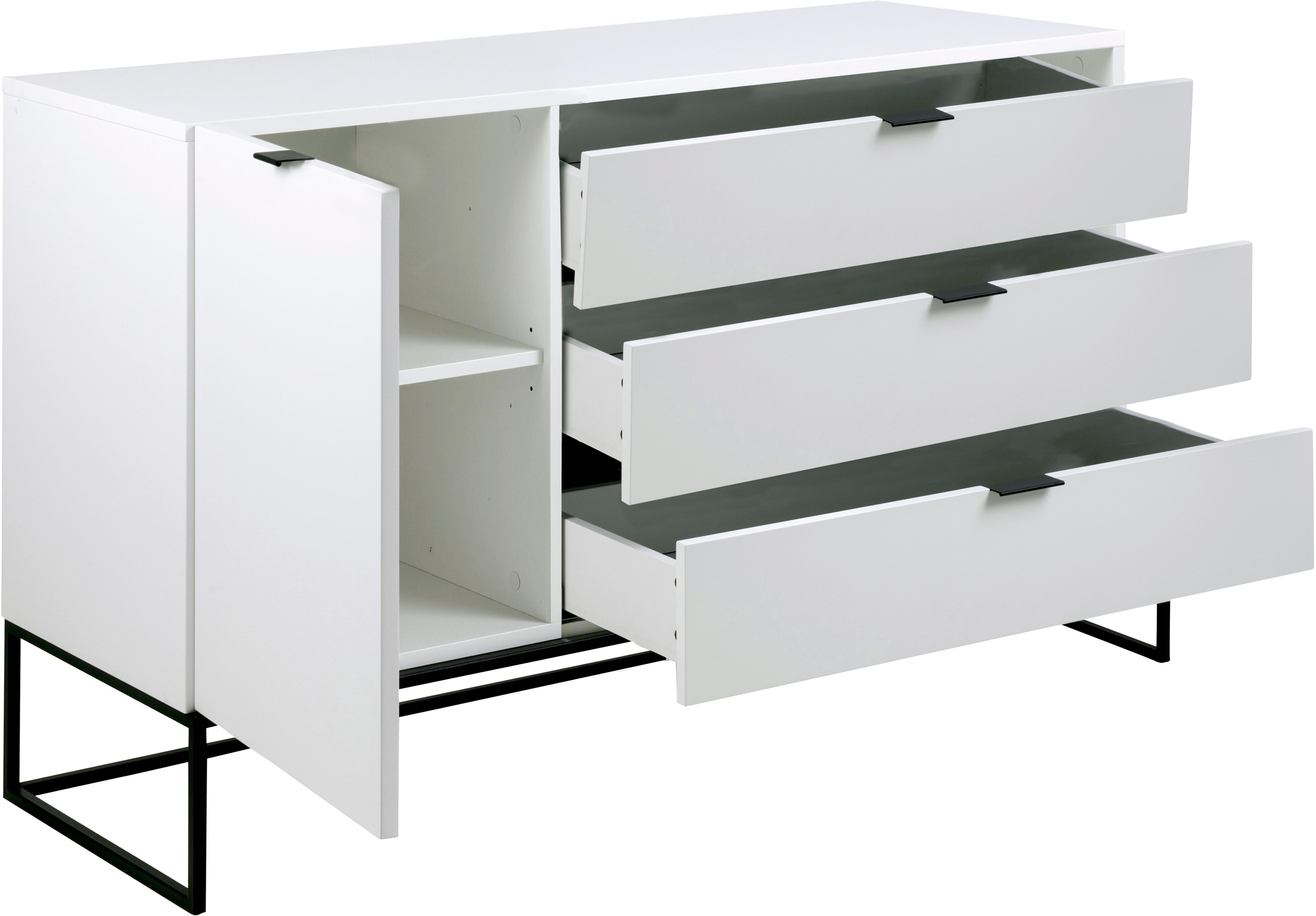 Weißes Sideboard Kobe mit Schubladen, Weiß, Schwarz, 134 x 80 cm