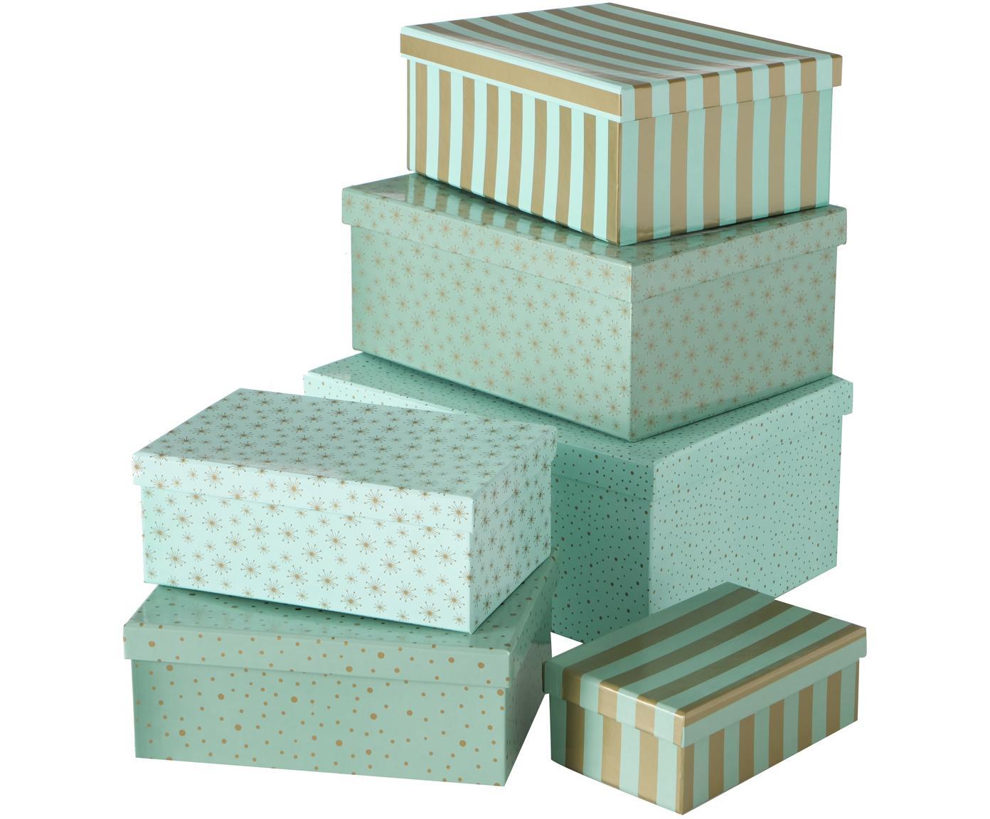Geschenkbox-Set Marit, 6-tlg., Papier, Türkis, Goldfarben, Verschiedene Grössen