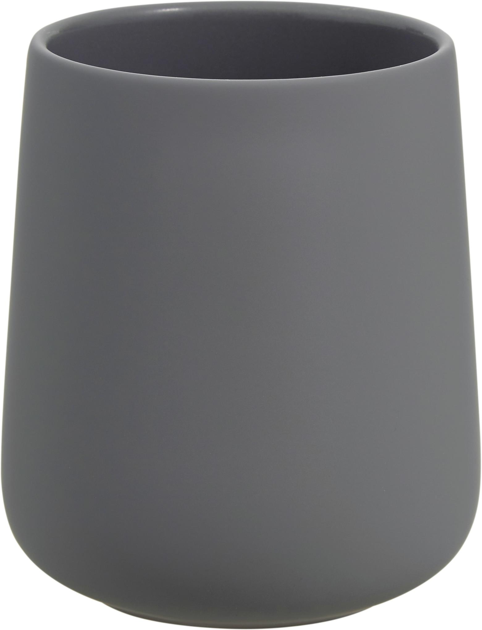 Porta spazzolini in porcellana Clean, Porcellana, Grigio, Ø 8 x Alt. 10 cm