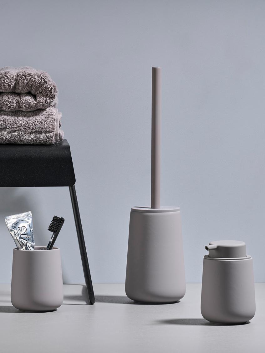 Vaso cepillo de dientes Nova One, Porcelana, Gris, Ø 8 x Al 10 cm