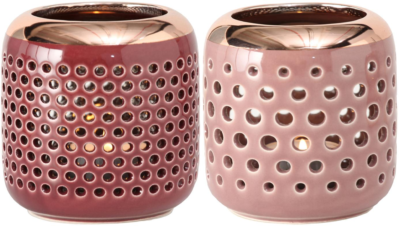 Windlichtenset Faise, 2-delig, Keramiek, Roze, koperkleurig, Ø 10 cm