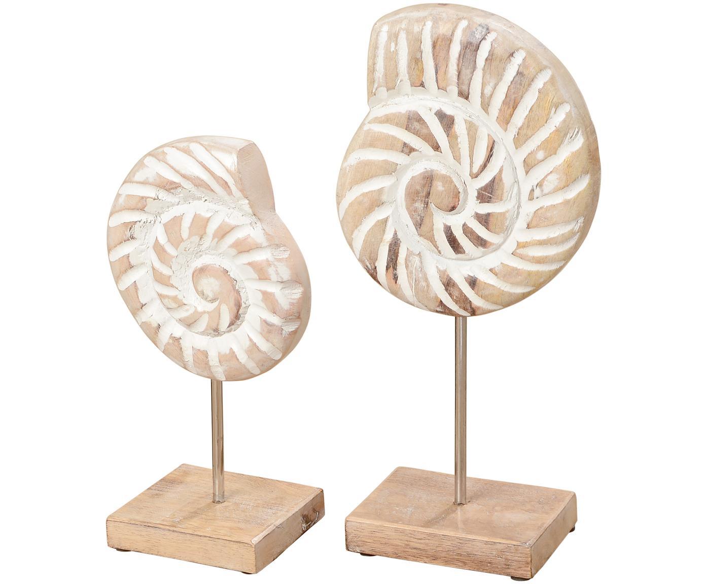 Decoratieve schelpenset Ana, 2-delig, Mangohout, metaal, Mangohoutkleurig, wit, Verschillende formaten