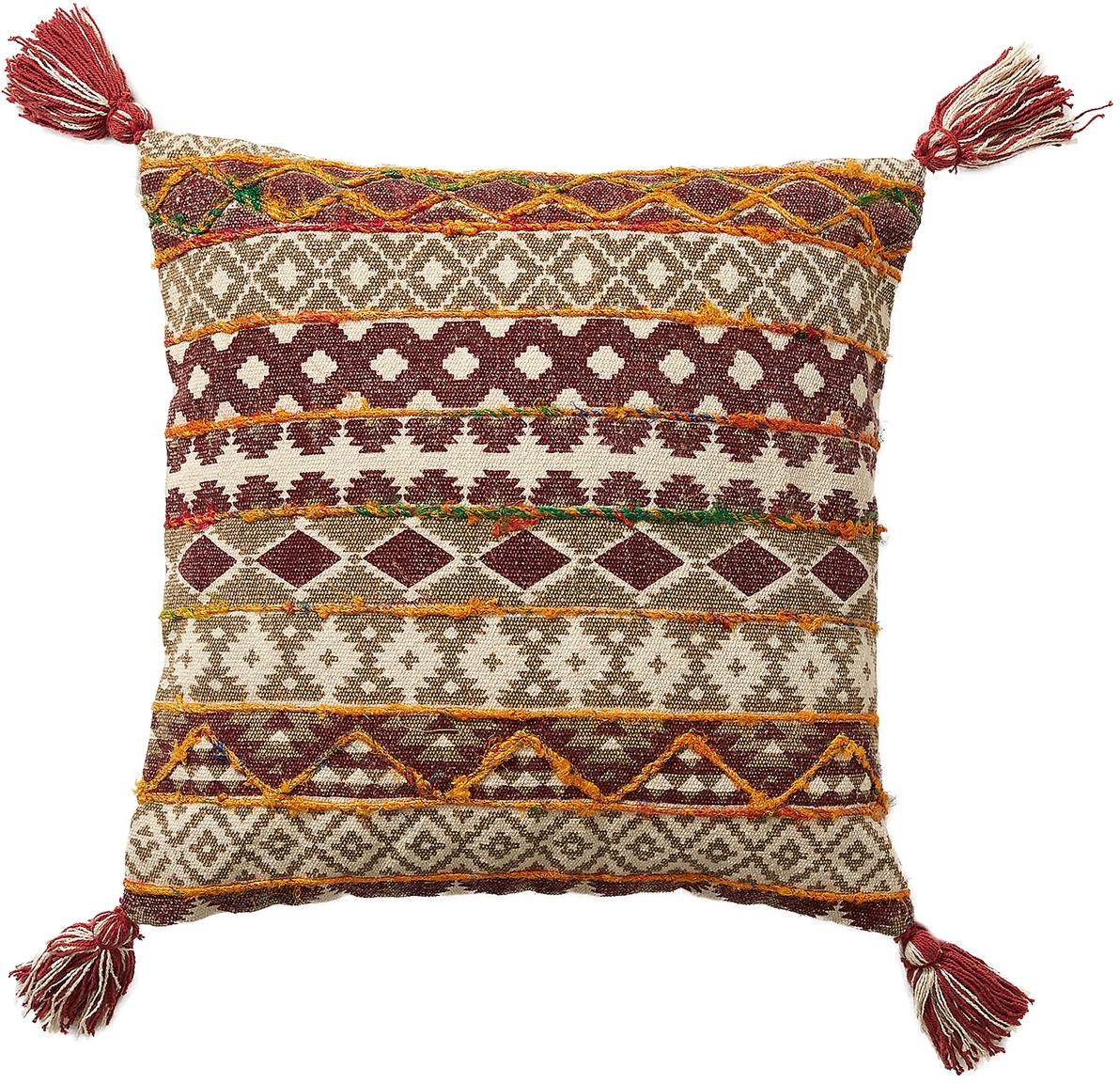 Ethno Kissenhülle Mahesana mit Quasten, 100% Baumwolle, Beige, Rot, Gelb, Grün, 45 x 45 cm