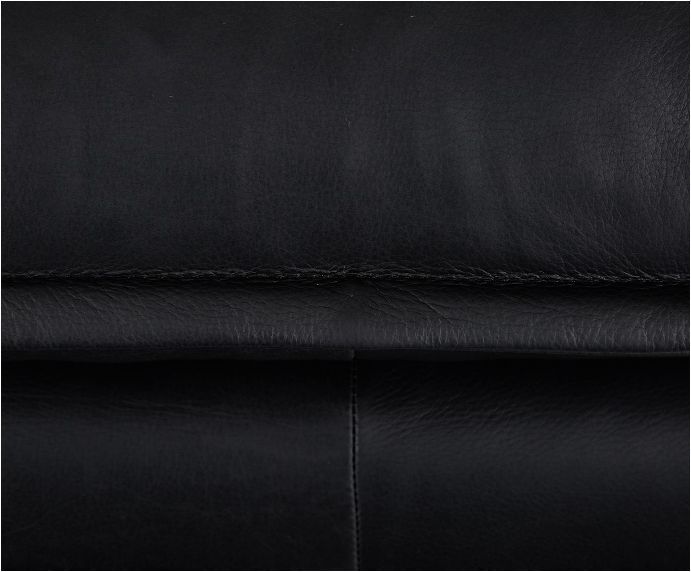 Leren hocker Retro, Bekleding: runderleer, Frame: MDF, houtvezelplaat, Poten: gepoedercoat metaal, Zwart, B 72 x D 65 cm