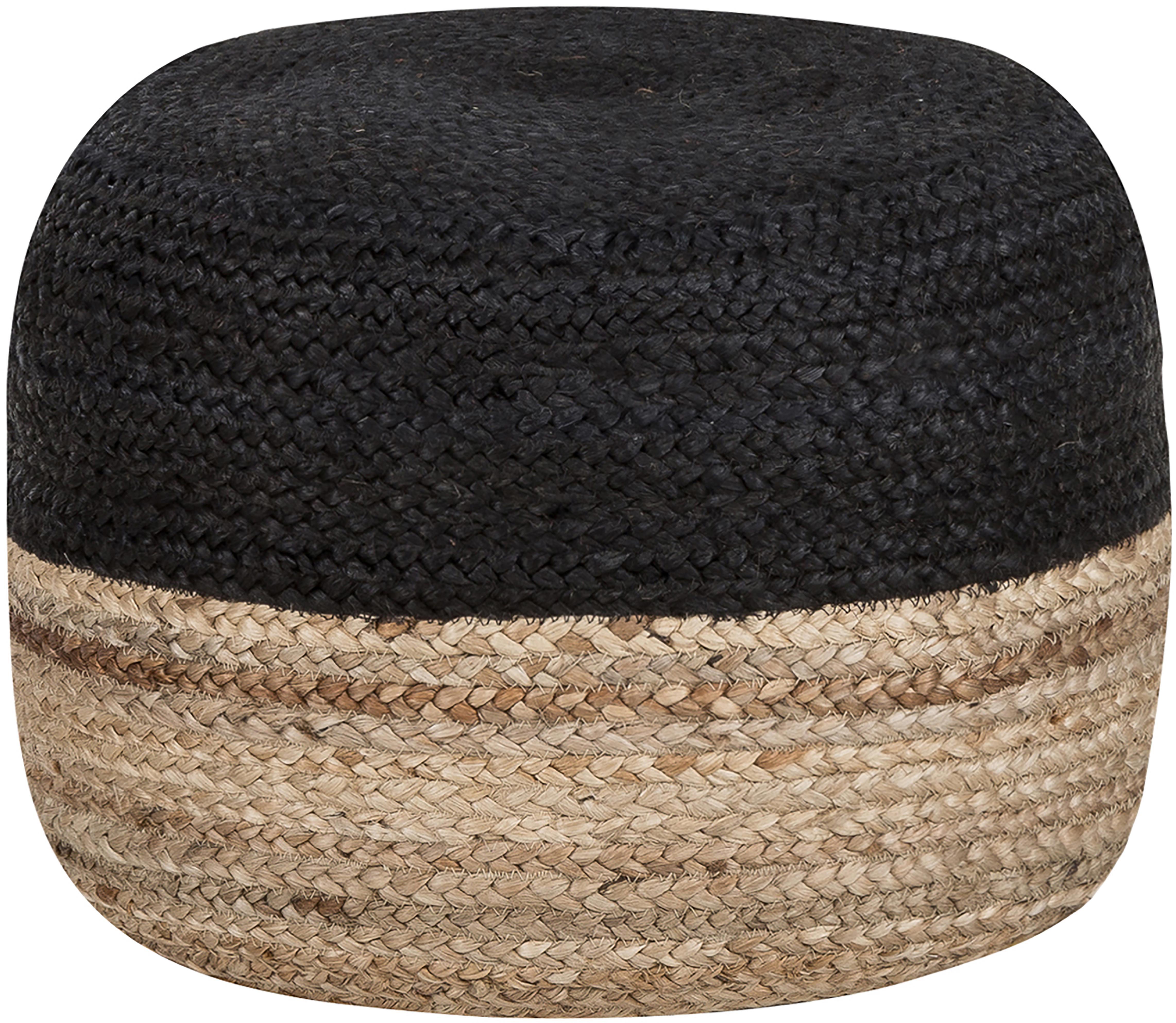 Puf artesanal de yute Bono, estilo boho, Tapizado: yute, Beige, negro, Ø 50 x Al 36 cm