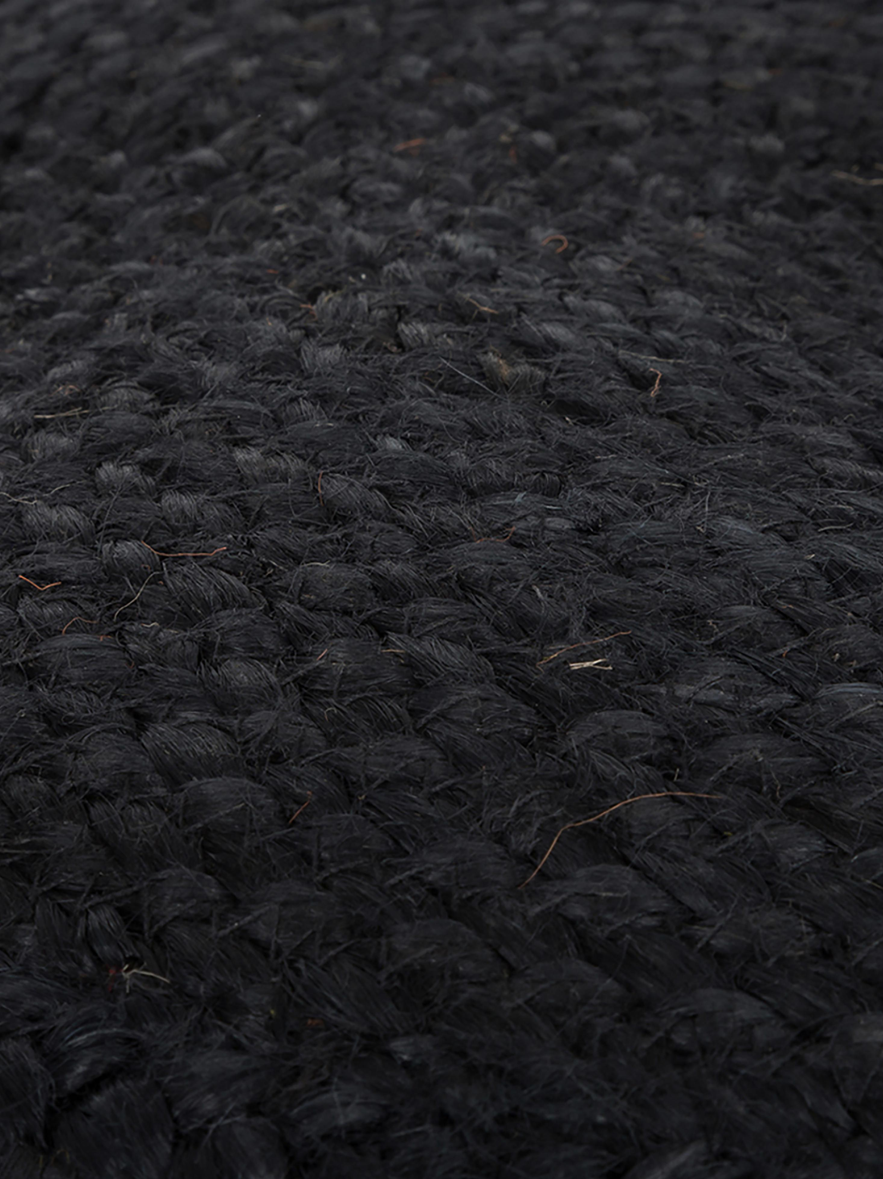 Handgefertigter Pouf Bono aus Jute, Bezug: Jute, Beige, Schwarz, Ø 50 x H 36 cm