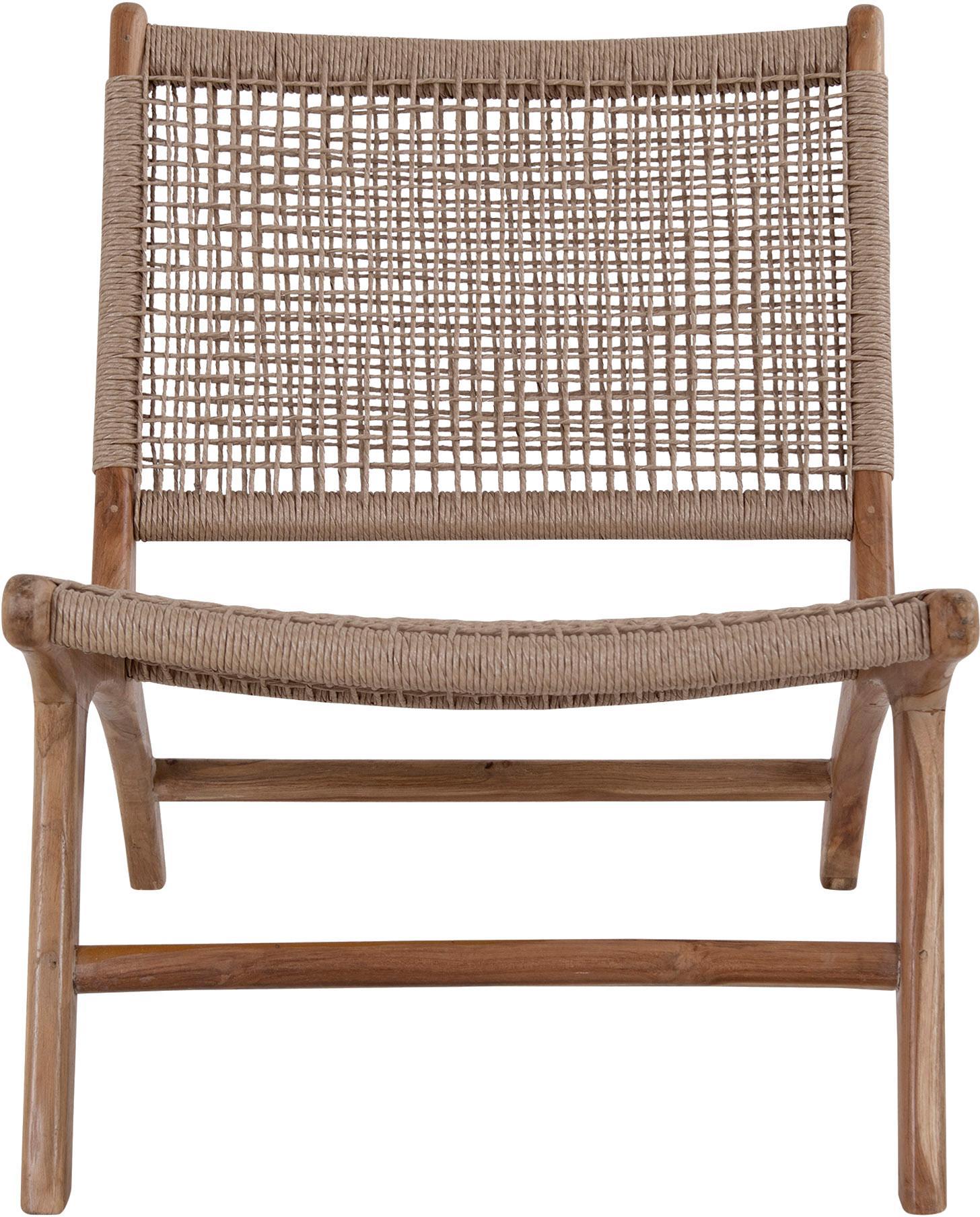 Loungesessel Derby aus Teakholz und Polyrattan, Gestell: Teakholz, Teakholz, Beige, B 60 x T 80 cm
